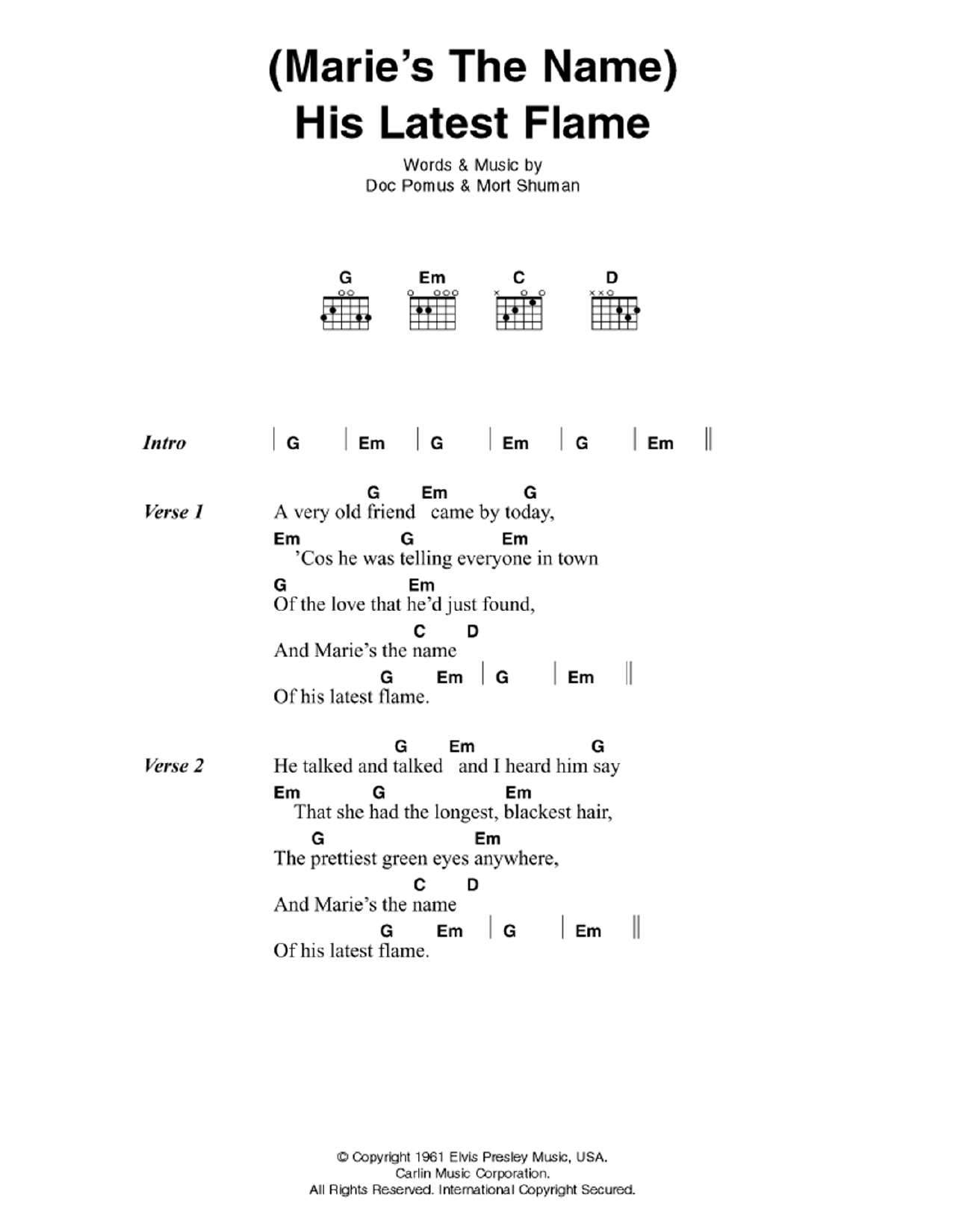 Maries The Name His Latest Flame By Elvis Presley Guitar Chords