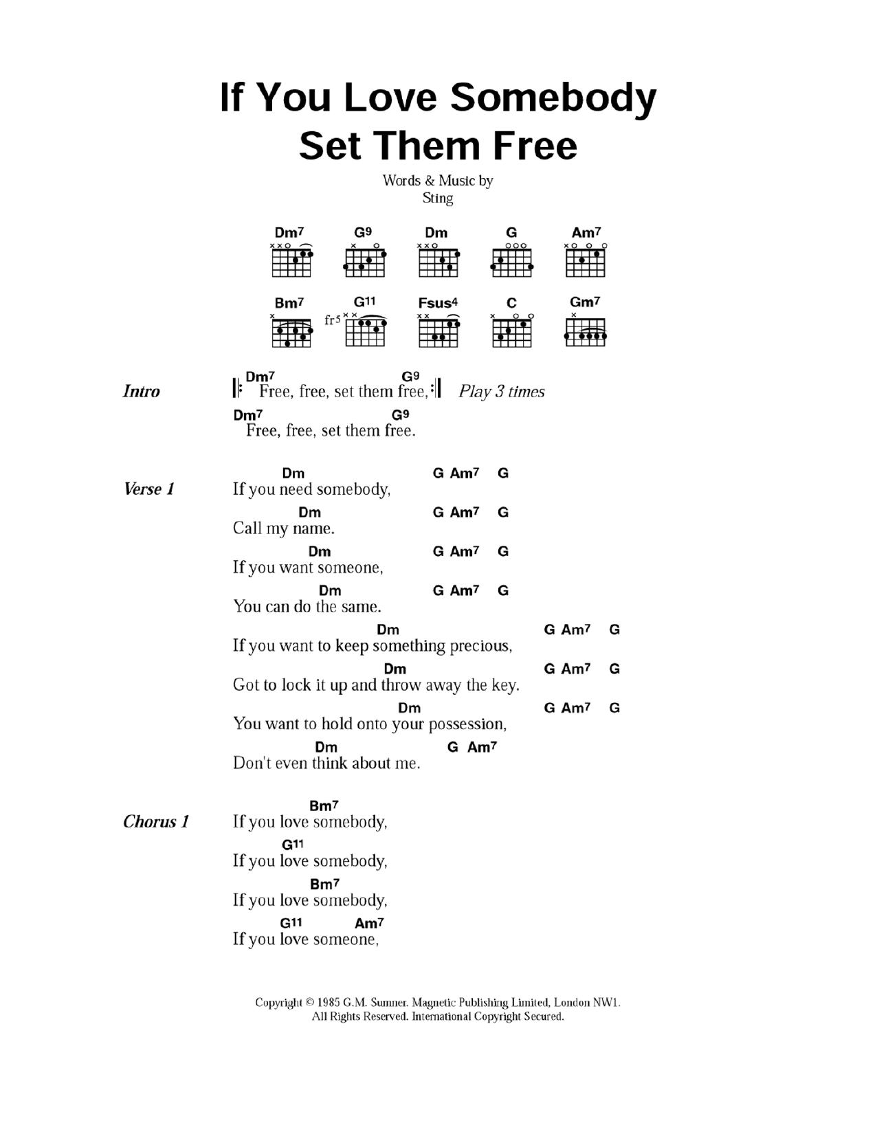if you love someone set them free lyrics