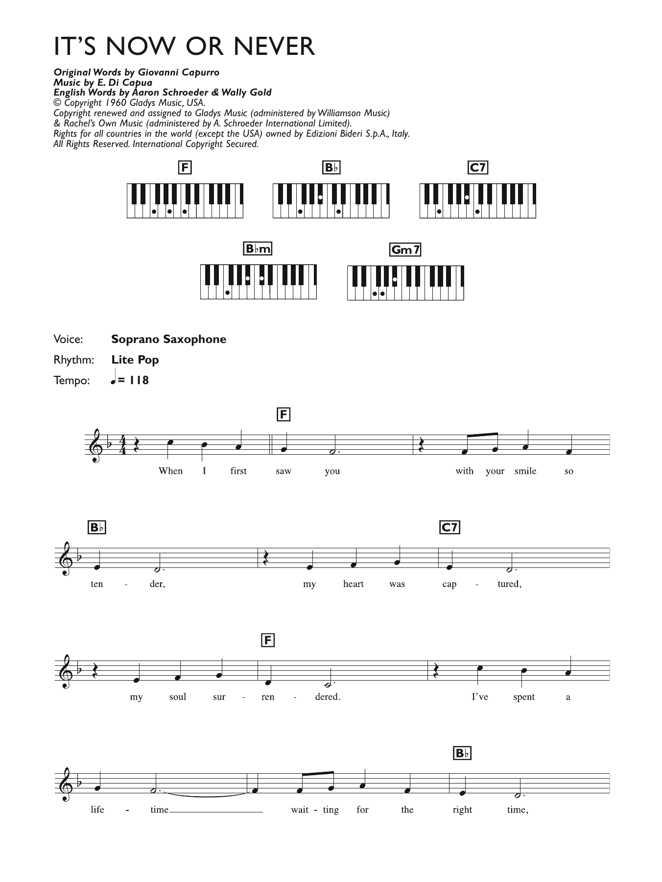 It's Now Or Never (Piano Chords/Lyrics)