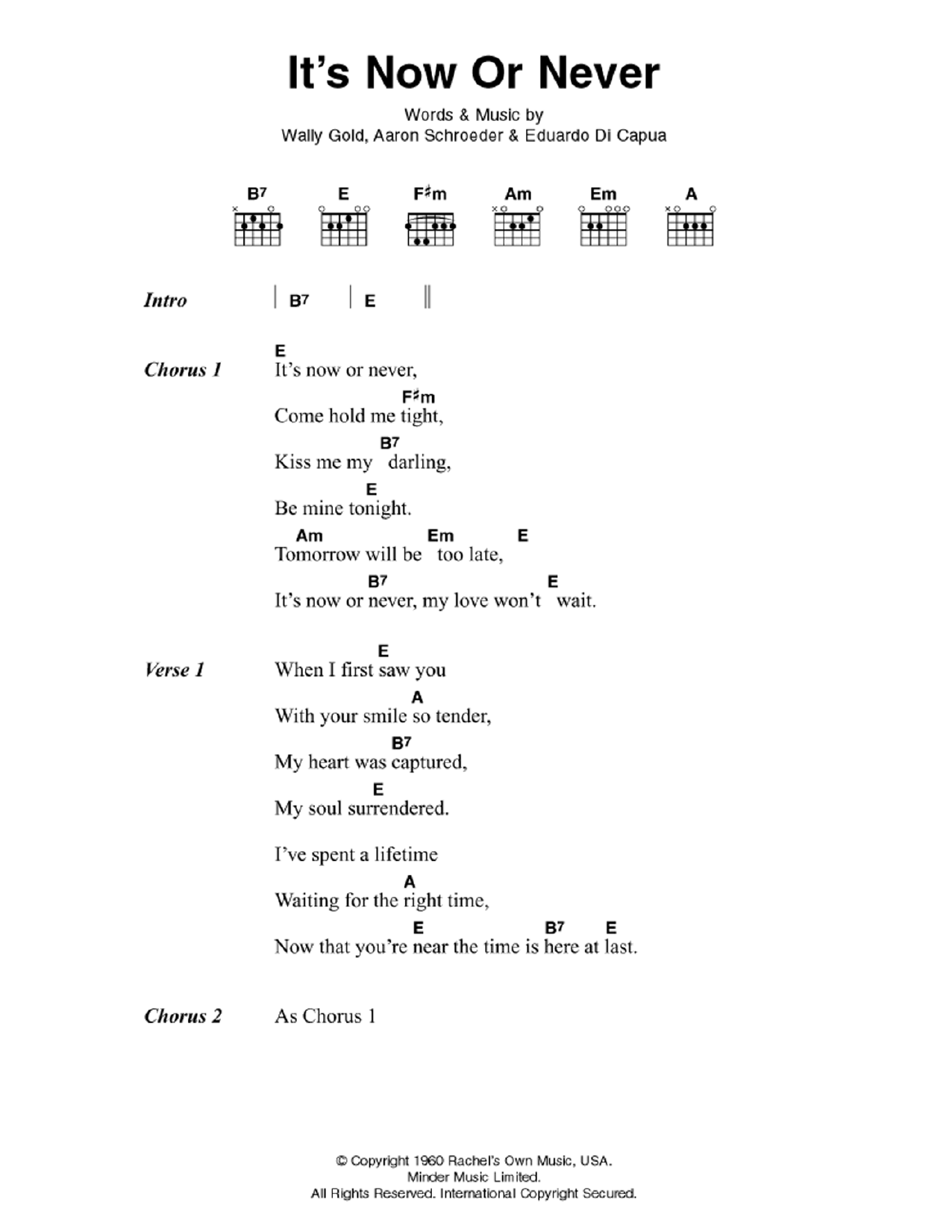 Its Now Or Never Sheet Music Elvis Presley Lyrics Chords