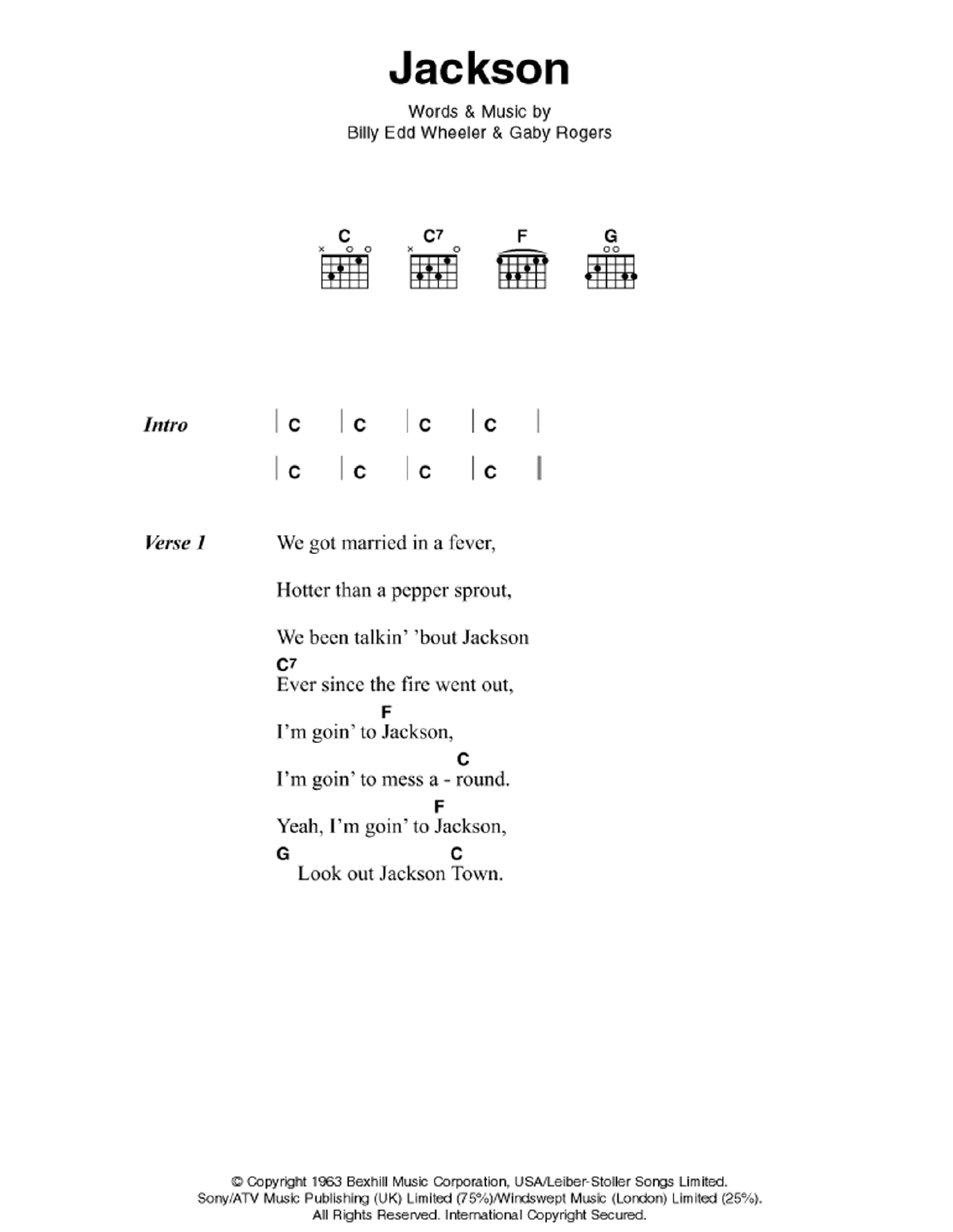 Jackson Sheet Music   Johnny Cash & June Carter   Guitar Chords/Lyrics