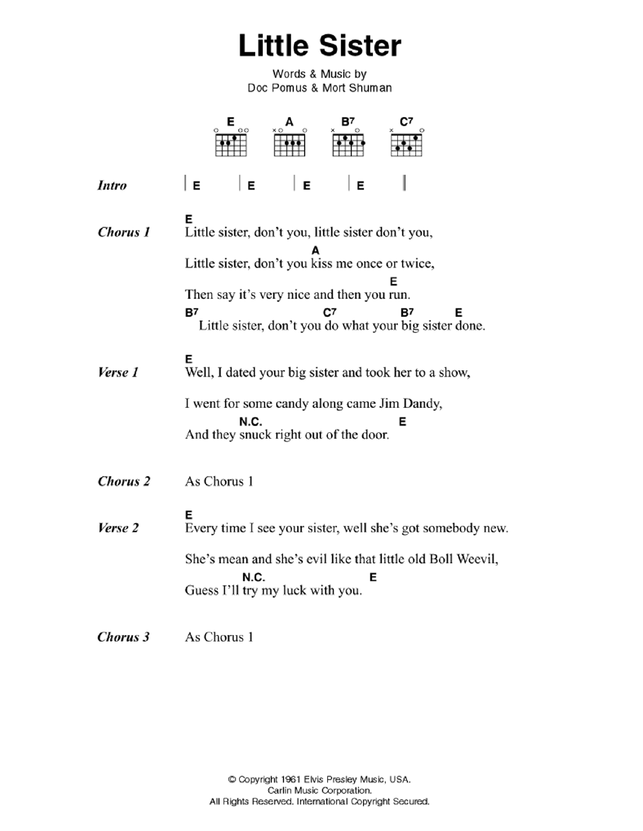 Little Sister Sheet Music