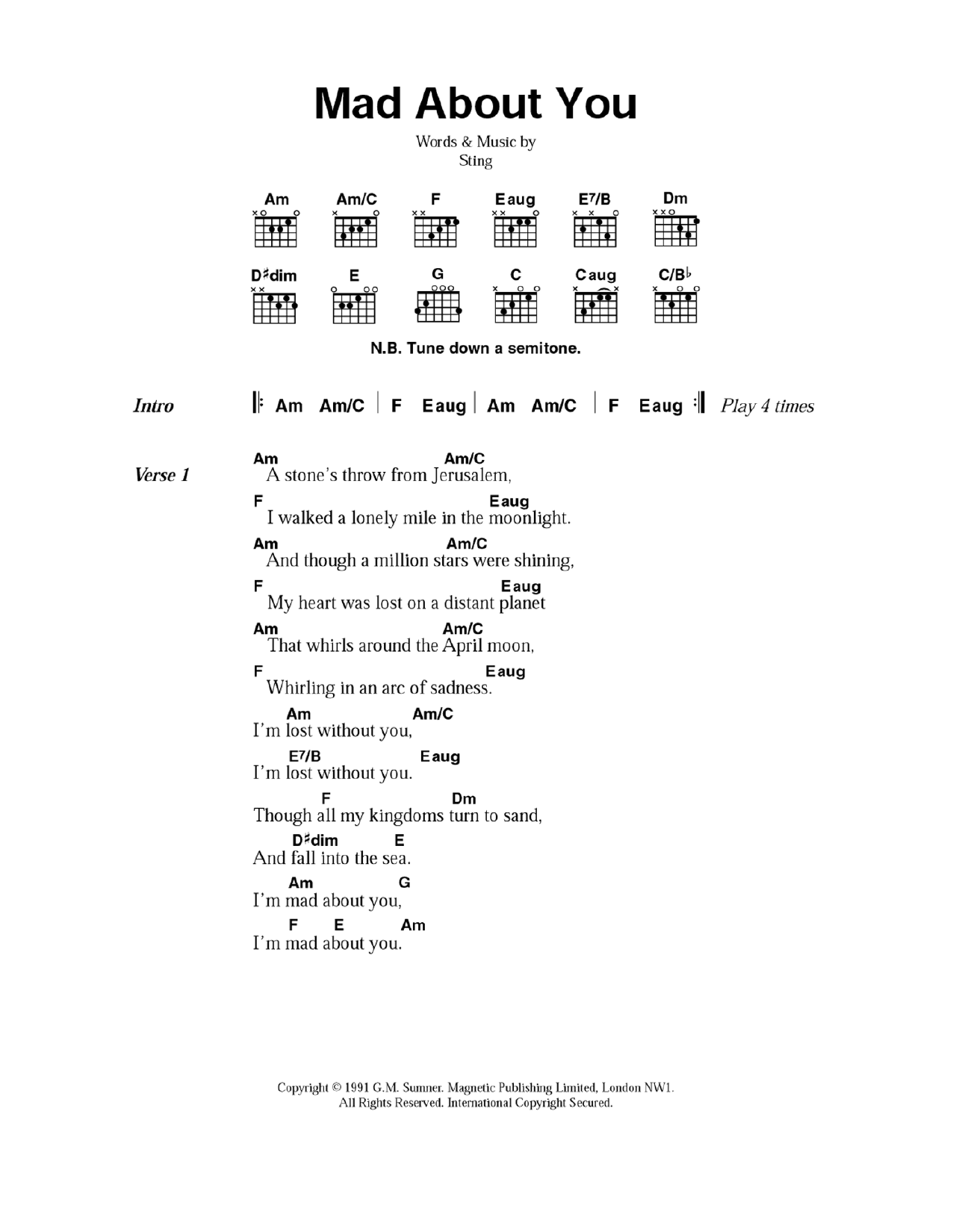 Mad About You by Sting   Guitar Chords/Lyrics   Guitar Instructor