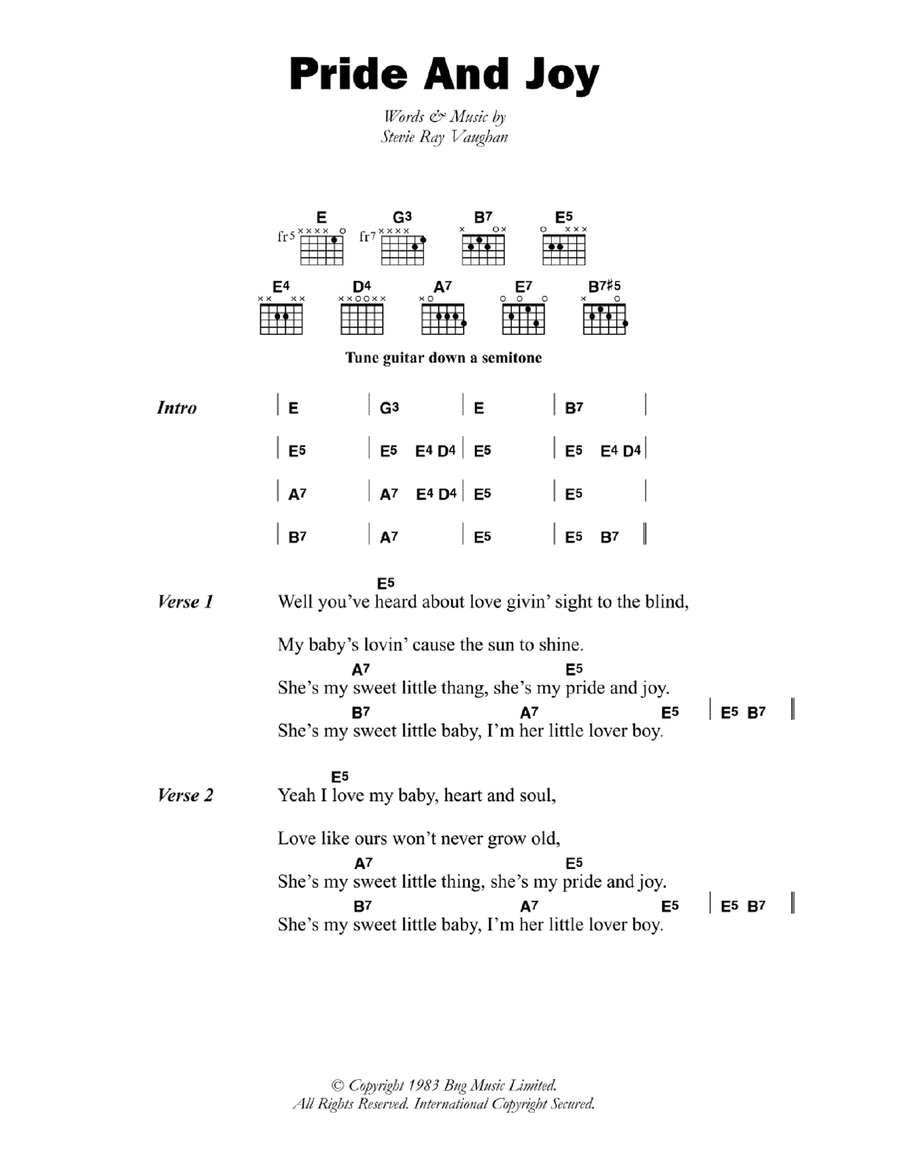 Pride And Joy Stevie Ray Vaughan Lyrics Chords