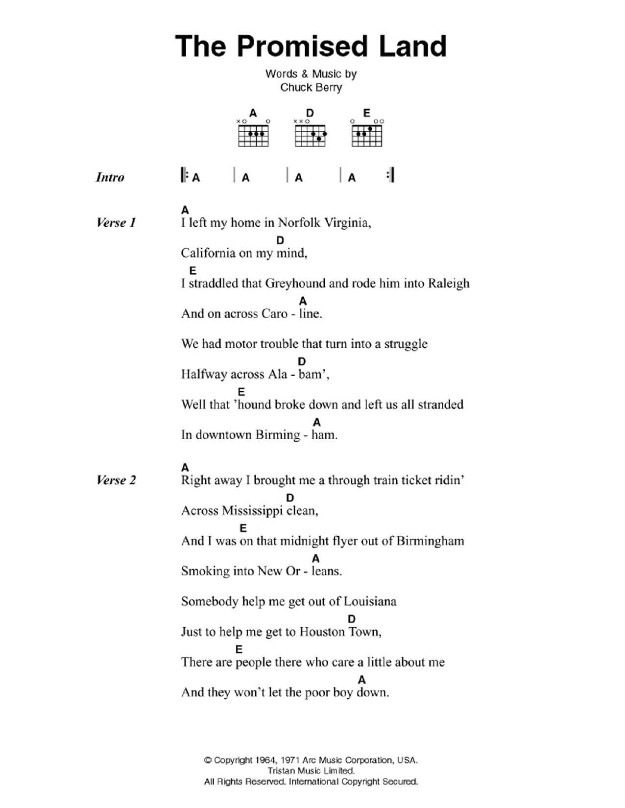 The Promised Land Sheet Music
