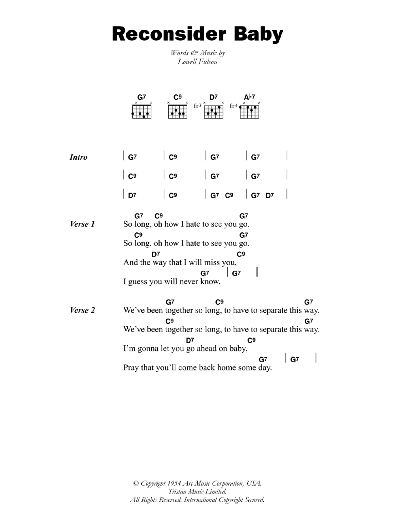 Reconsider Baby (Guitar Chords/Lyrics)