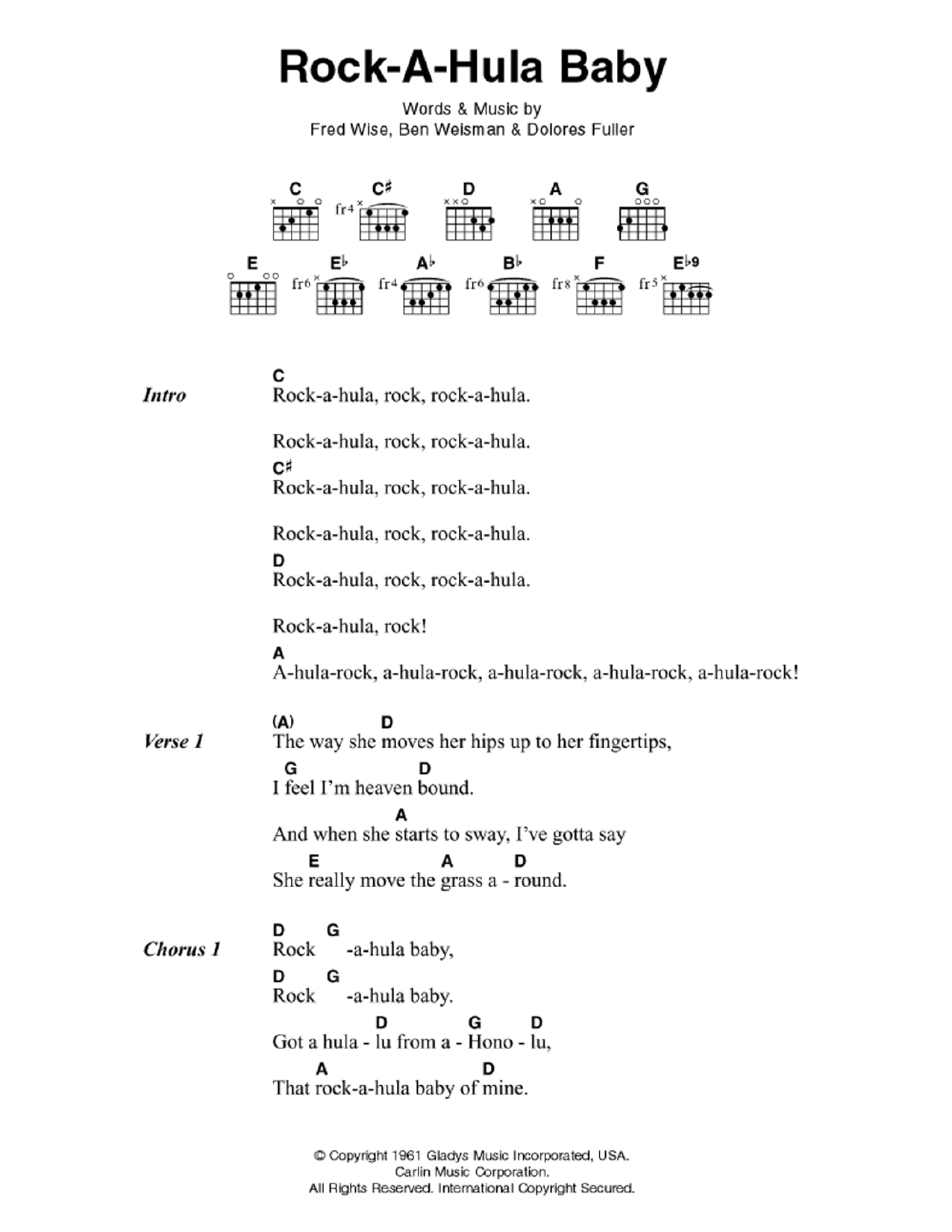 Rock A Hula Baby By Elvis Presley Guitar Chordslyrics Guitar