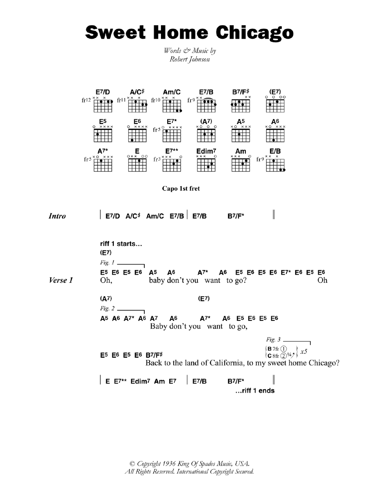 Sweet Home Chicago By Robert Johnson Guitar Chordslyrics Guitar
