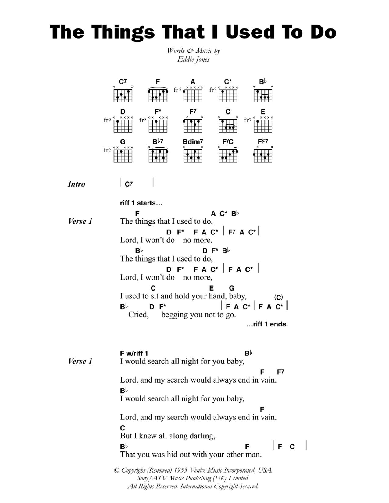 The Things That I Used To Do Sheet Music Eddie Guitar Slim Jones