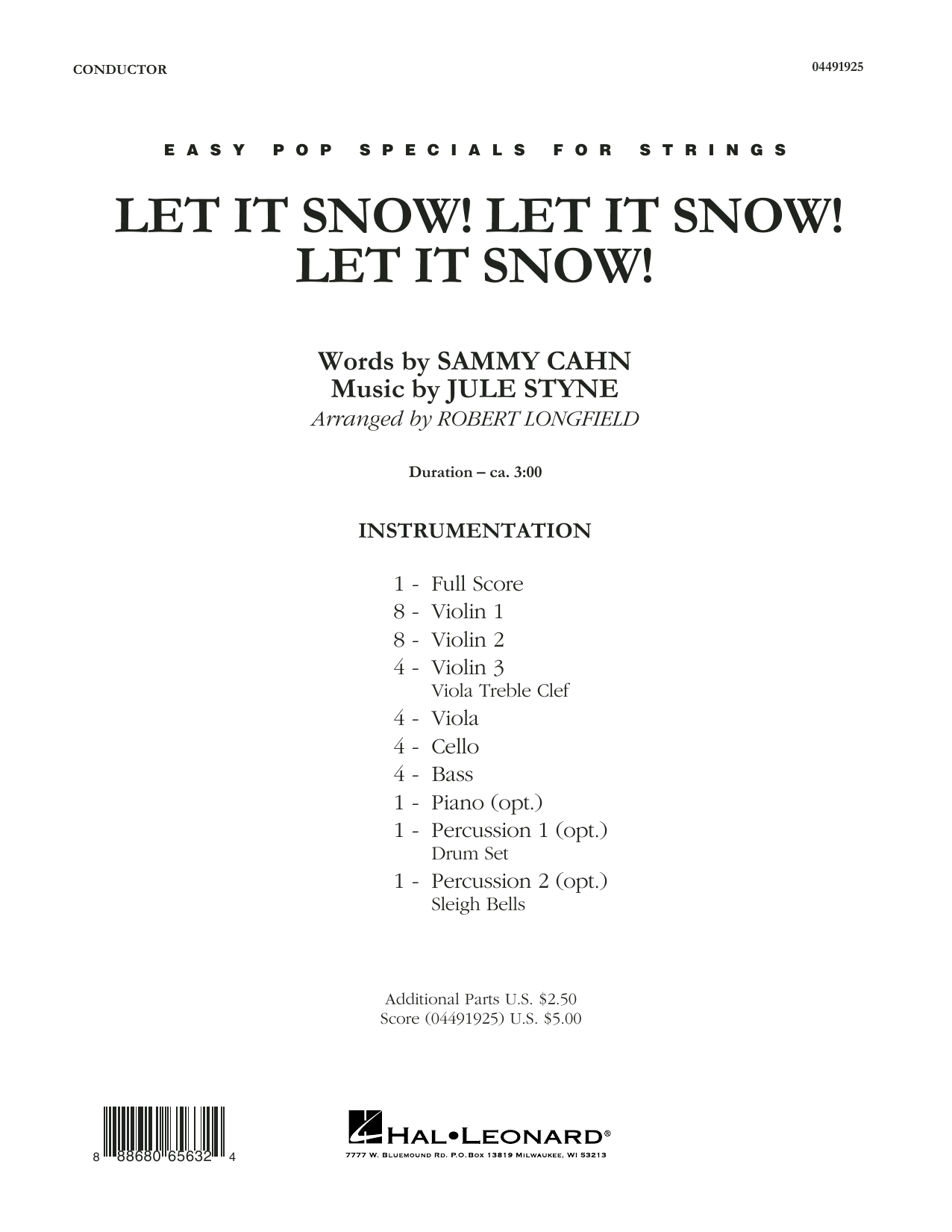 Let It Snow! Let It Snow! Let It Snow! (COMPLETE) sheet music for orchestra by Jule Styne, Joe Nichols and Robert Longfield. Score Image Preview.