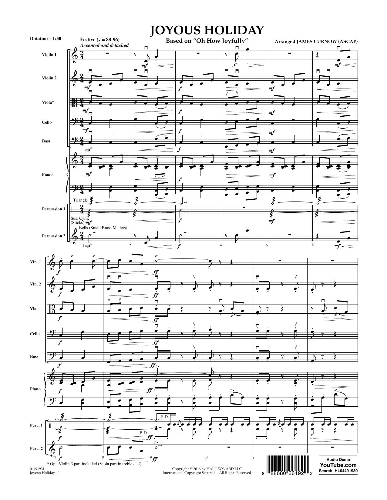 Joyous Holiday (based on Oh How Joyfully) - Conductor Score (Full Score) Sheet Music