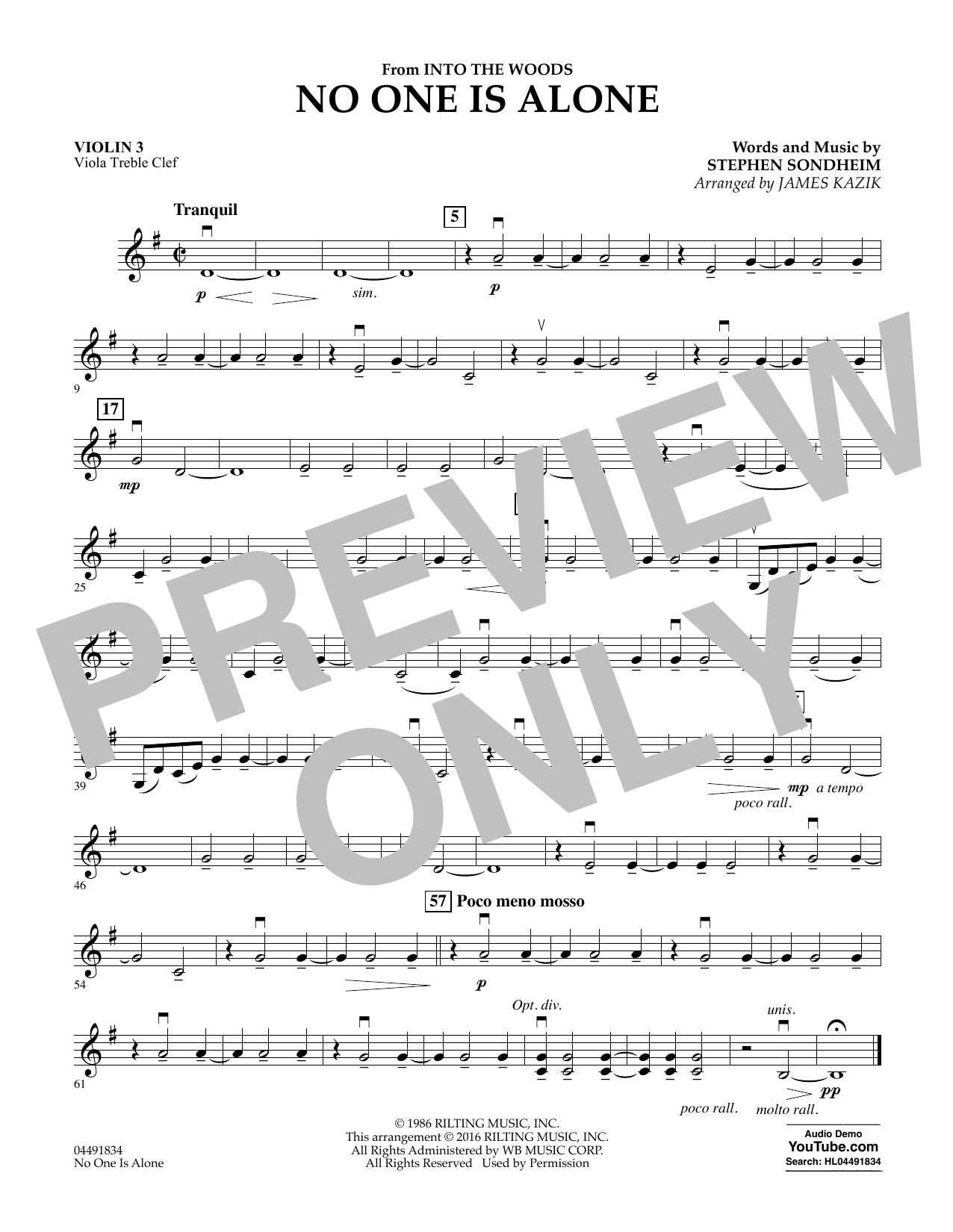 No One Is Alone (from Into The Woods) - Violin 3 (Viola Treble Clef) Sheet Music