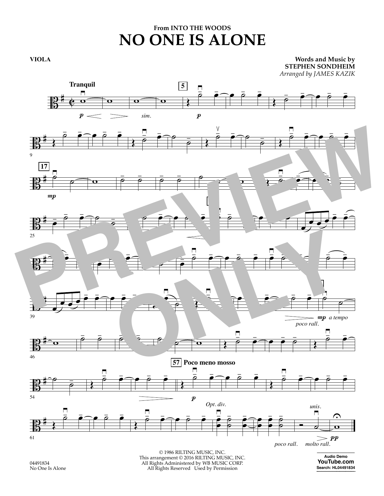 No One Is Alone (from Into The Woods) - Viola Sheet Music