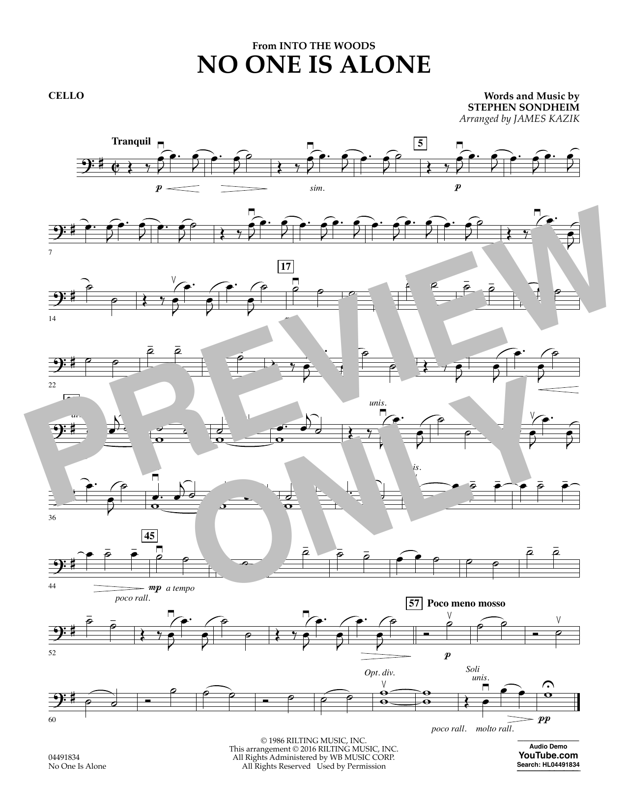 No One Is Alone (from Into The Woods) - Cello Sheet Music
