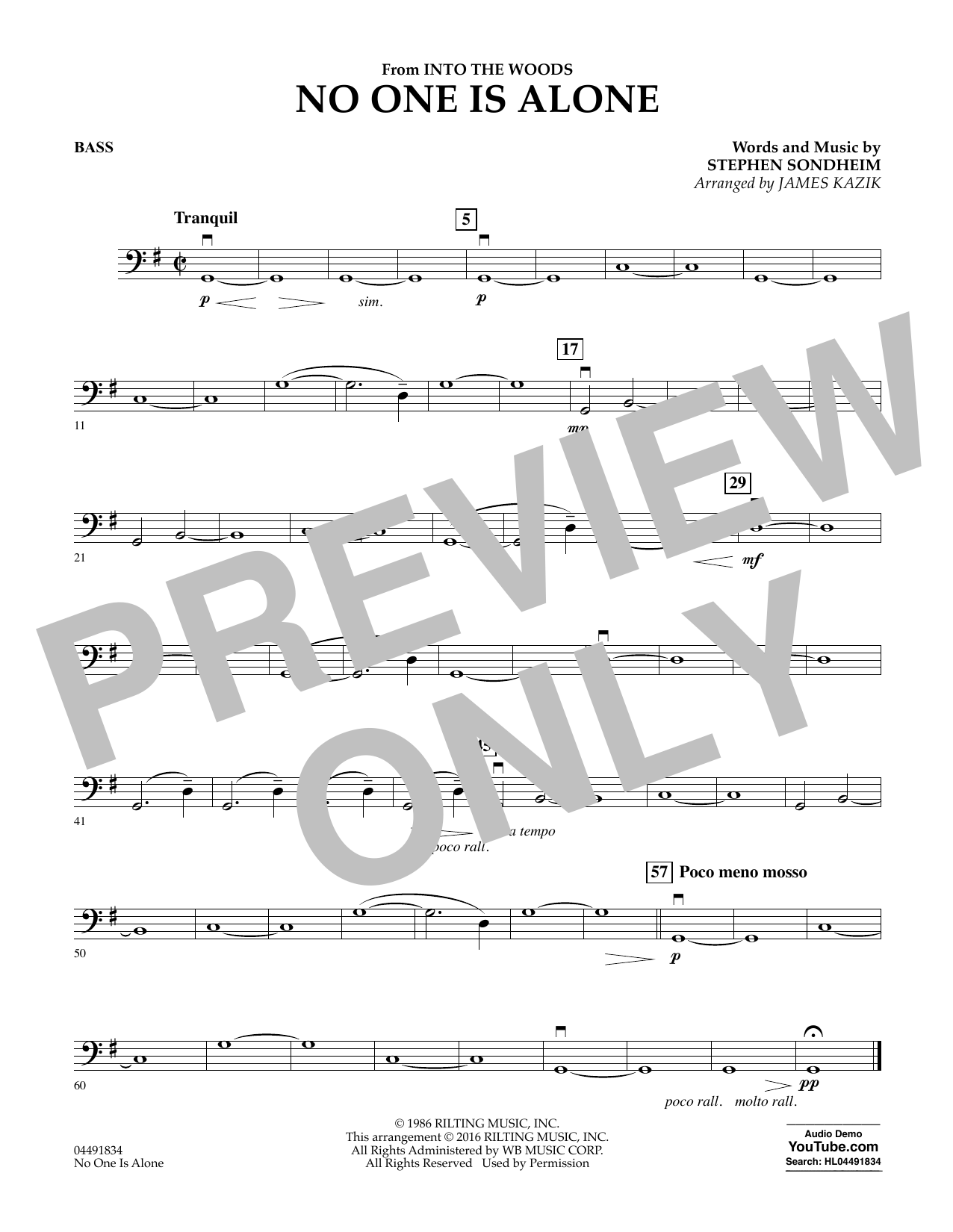No One Is Alone (from Into The Woods) - Bass Sheet Music