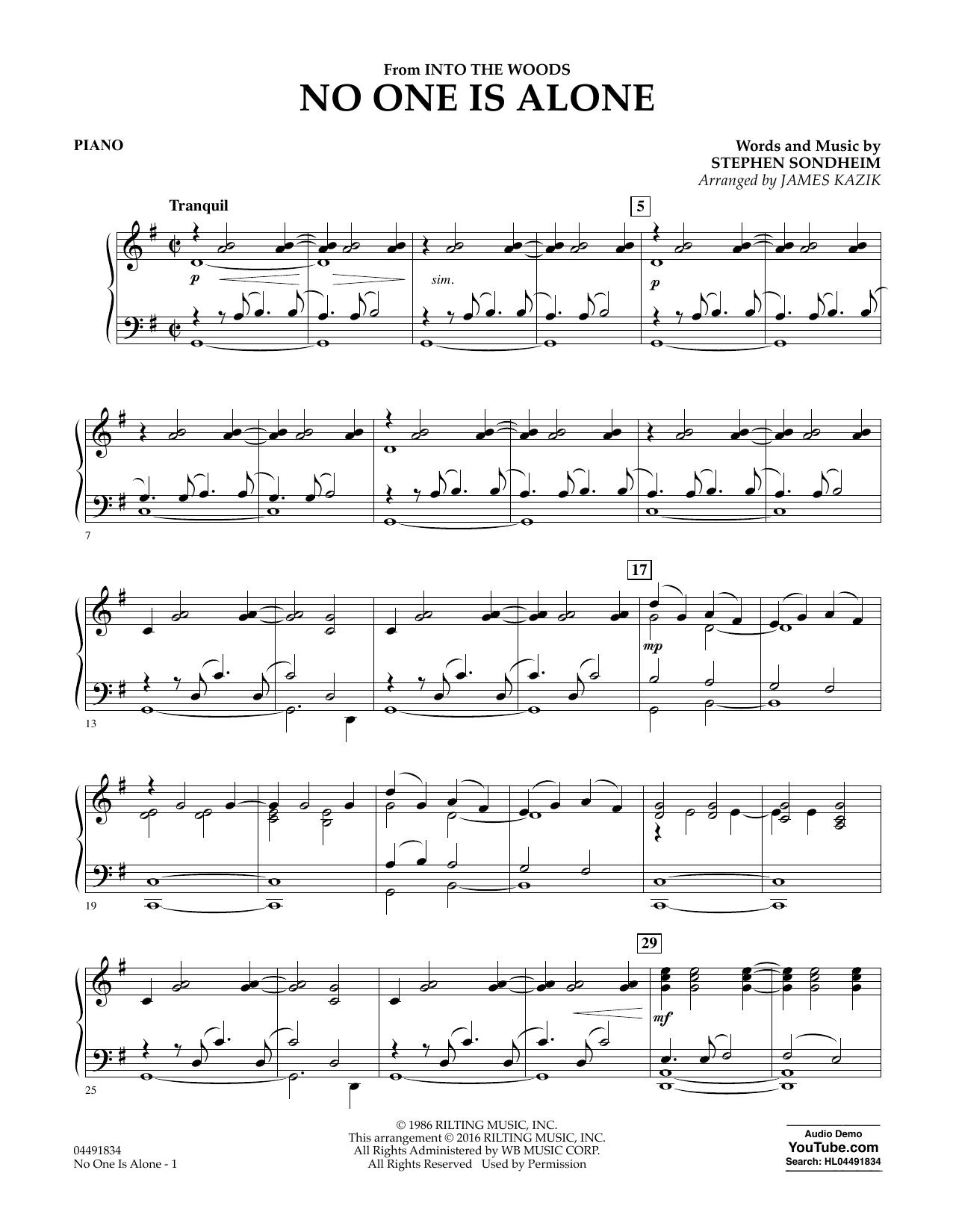 No One Is Alone (from Into The Woods) - Piano Sheet Music