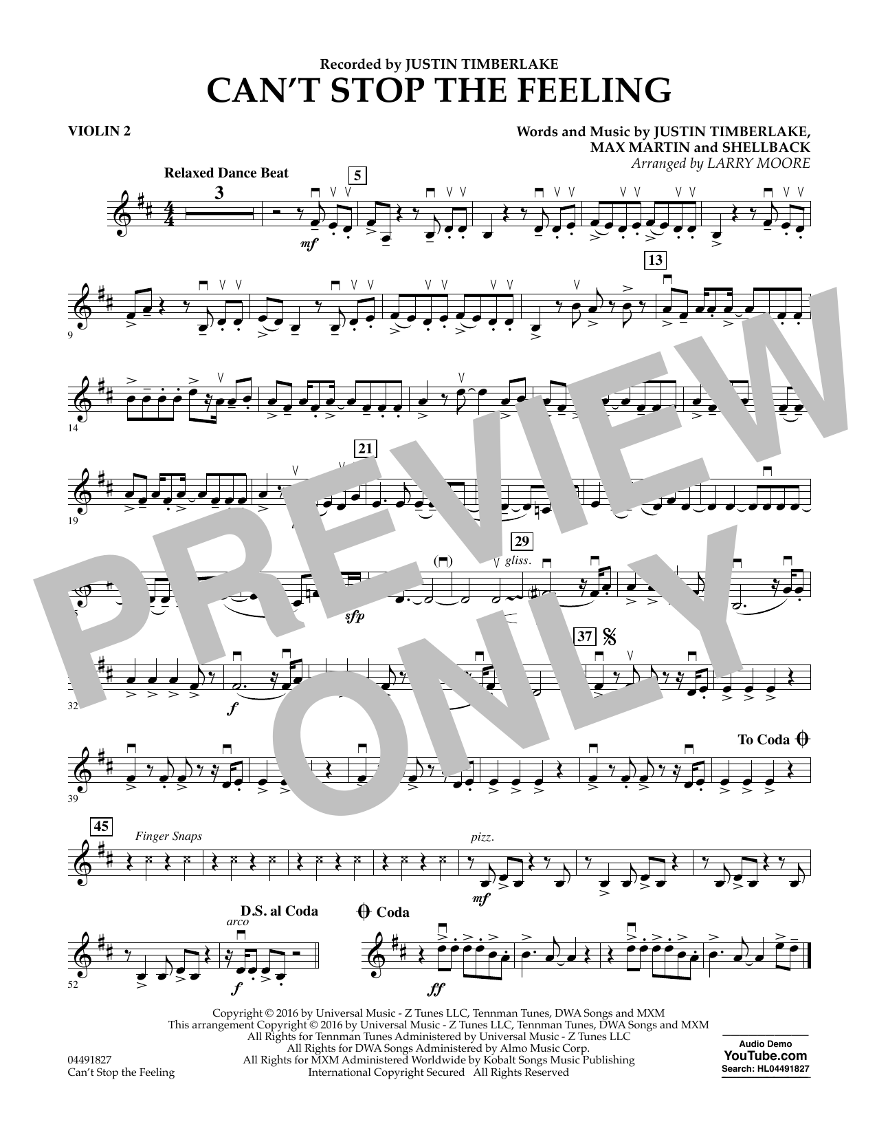 Can't Stop the Feeling - Violin 2 Sheet Music