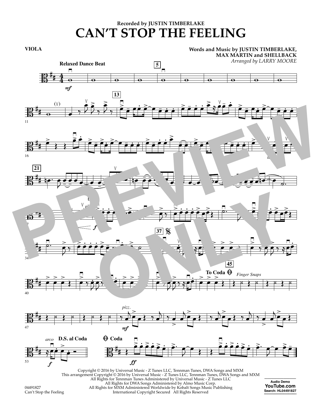 Can't Stop the Feeling - Viola Sheet Music