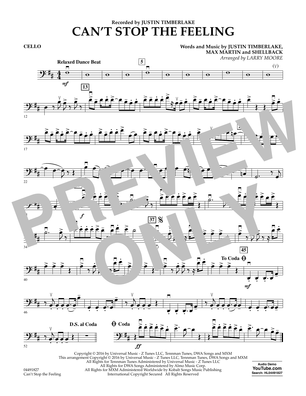 Can't Stop the Feeling - Cello Sheet Music
