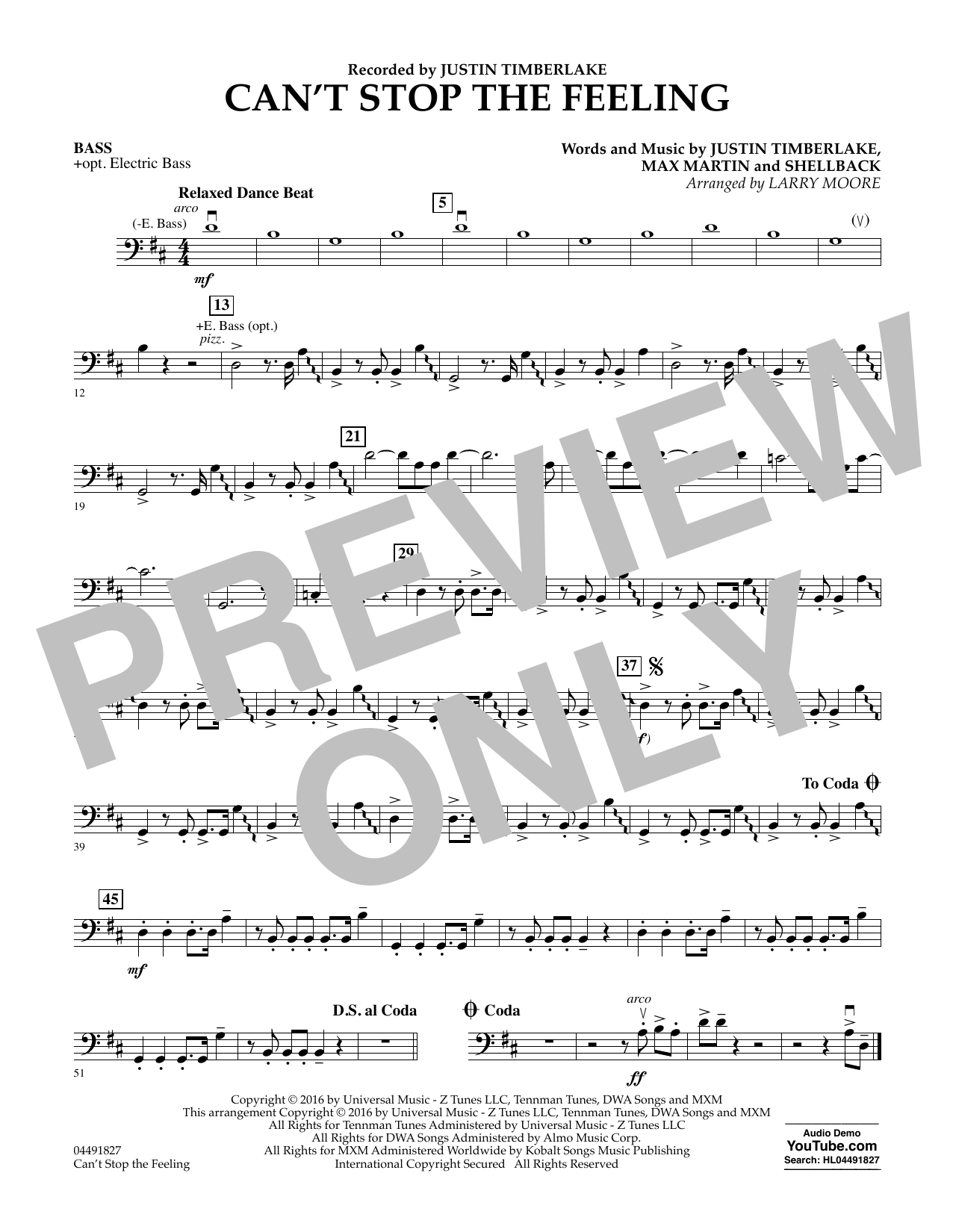 Can't Stop the Feeling - Bass Sheet Music