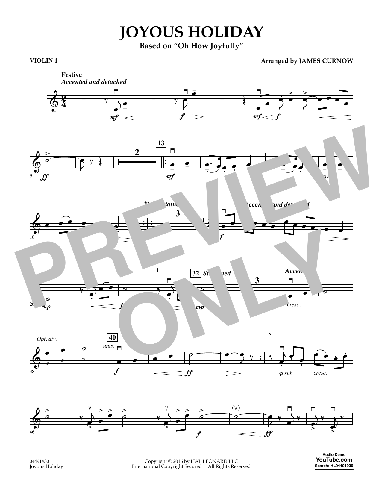 Joyous Holiday (based on Oh How Joyfully) - Violin 1 Sheet Music