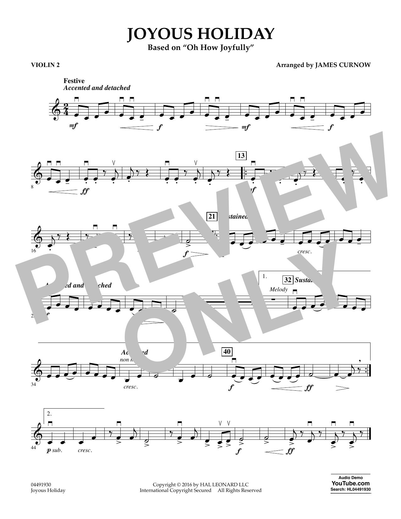 Joyous Holiday (based on Oh How Joyfully) - Violin 2 Sheet Music