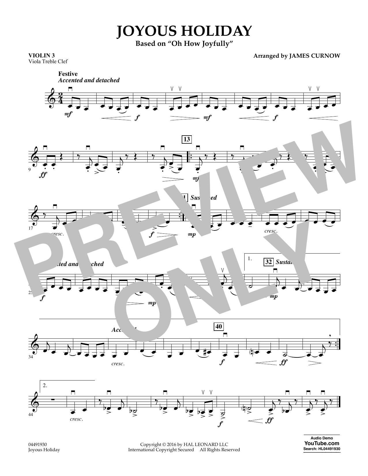 Joyous Holiday (based on Oh How Joyfully) - Violin 3 (Viola Treble Clef) Sheet Music