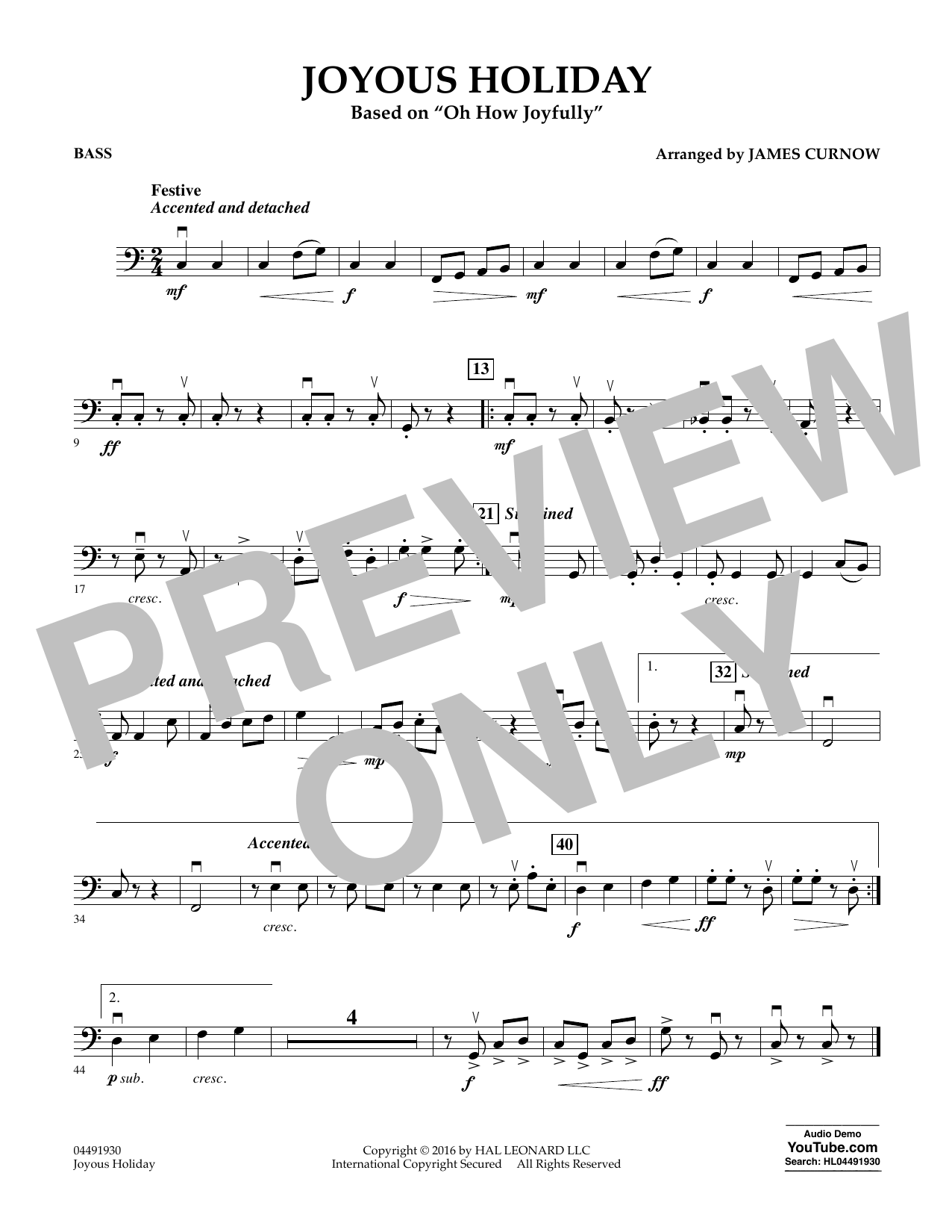 Joyous Holiday (based on Oh How Joyfully) - Bass Sheet Music