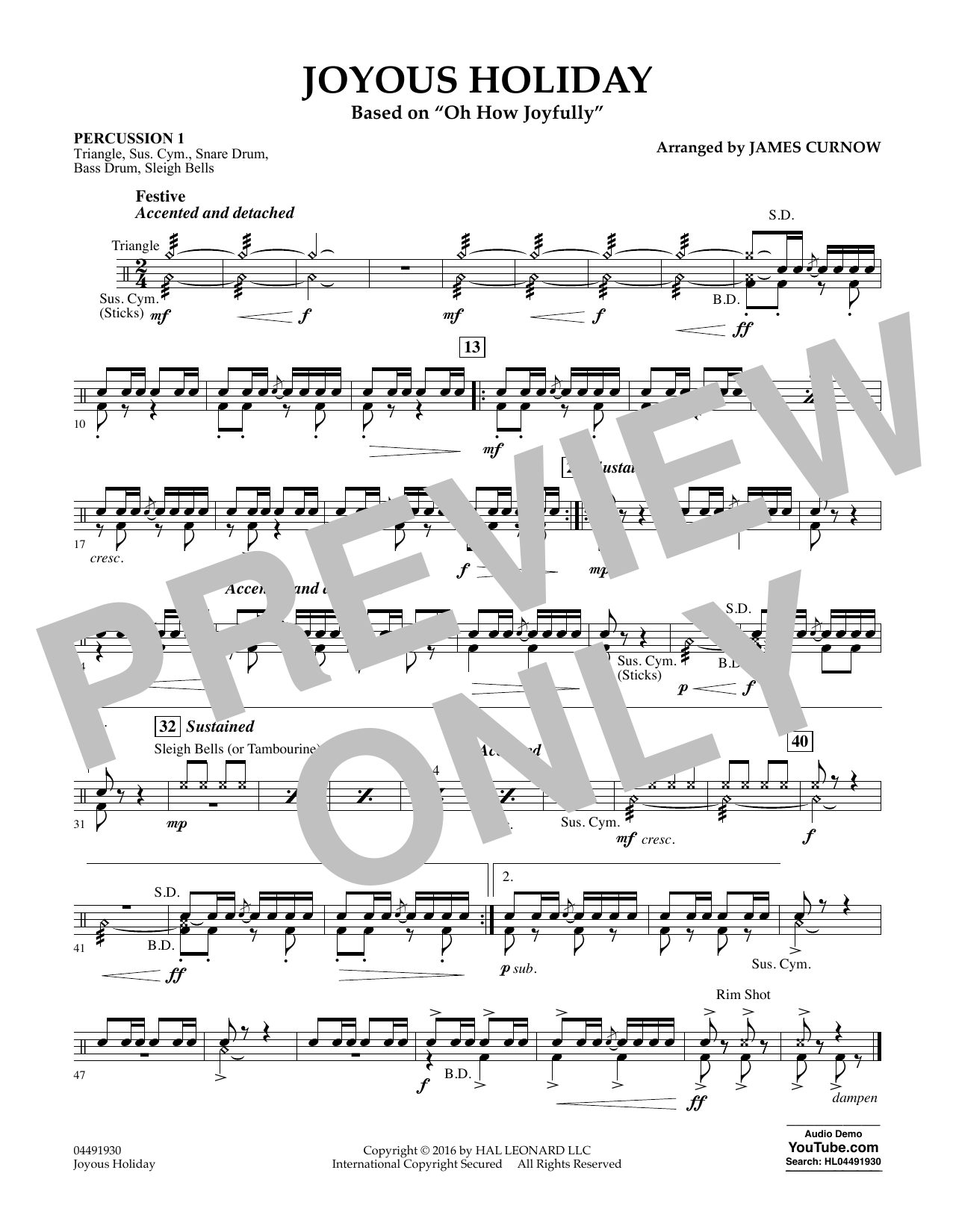 Joyous Holiday (based on Oh How Joyfully) - Percussion 1 Sheet Music