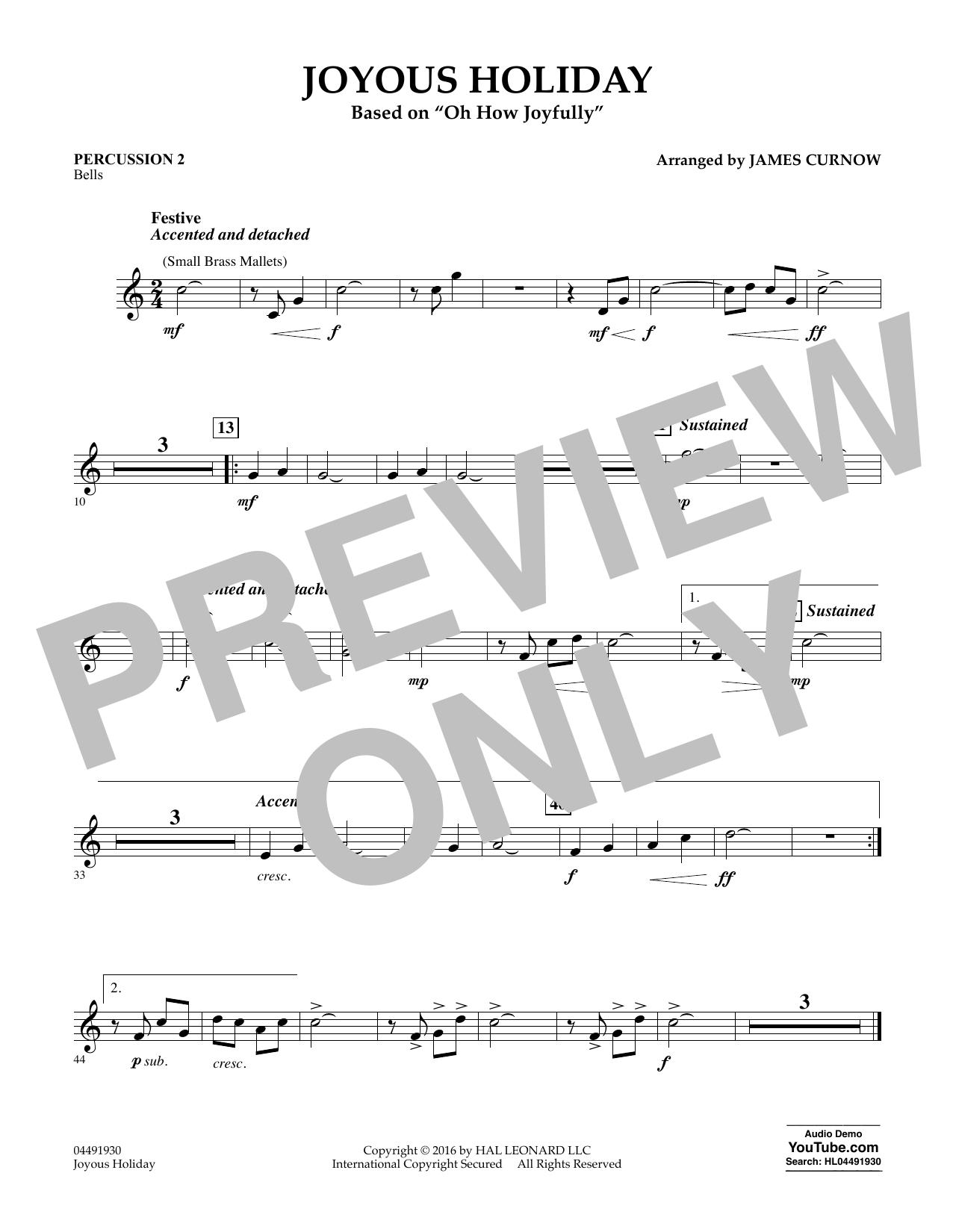 Joyous Holiday (based on Oh How Joyfully) - Percussion 2 Sheet Music