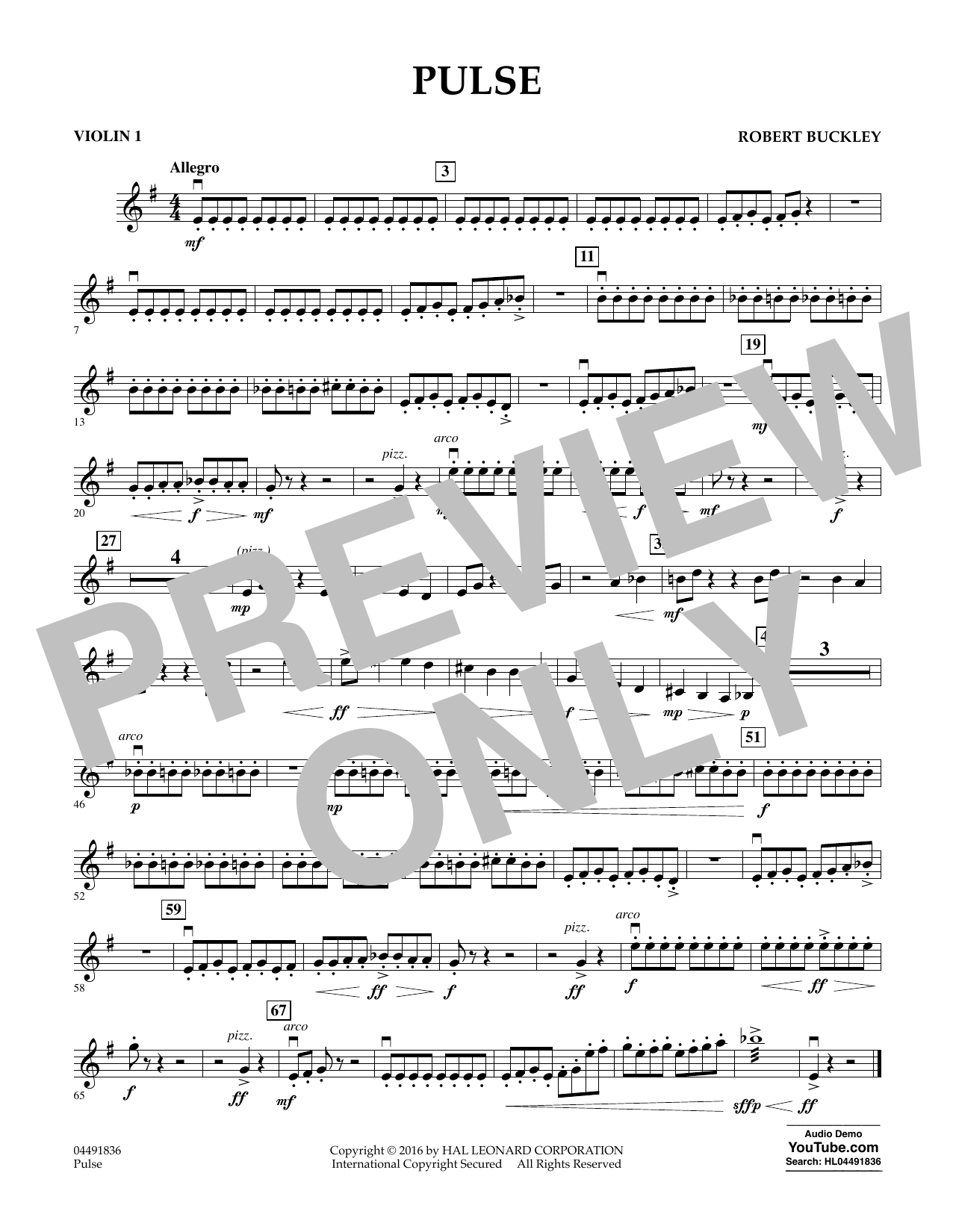 Pulse - Violin 1 Sheet Music