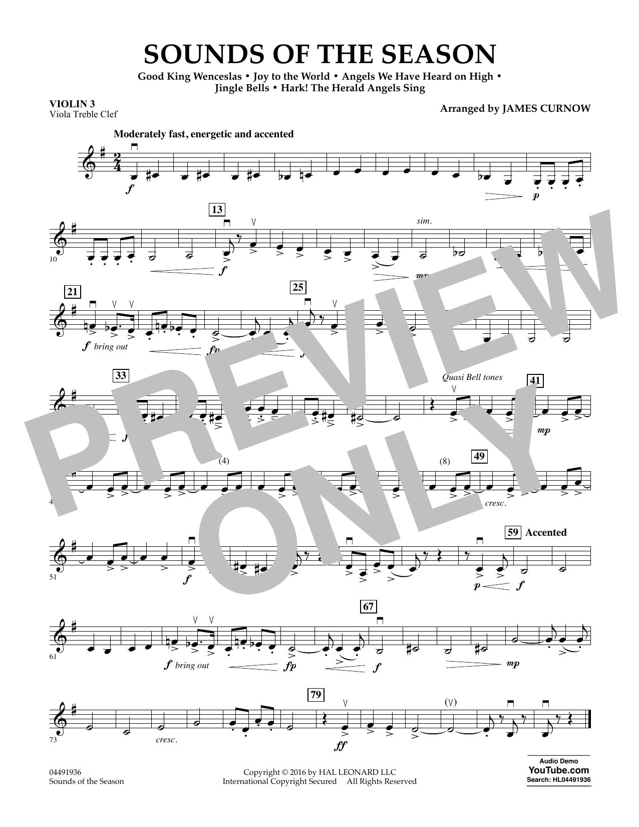 Sounds of the Season - Violin 3 (Viola Treble Clef) Sheet Music