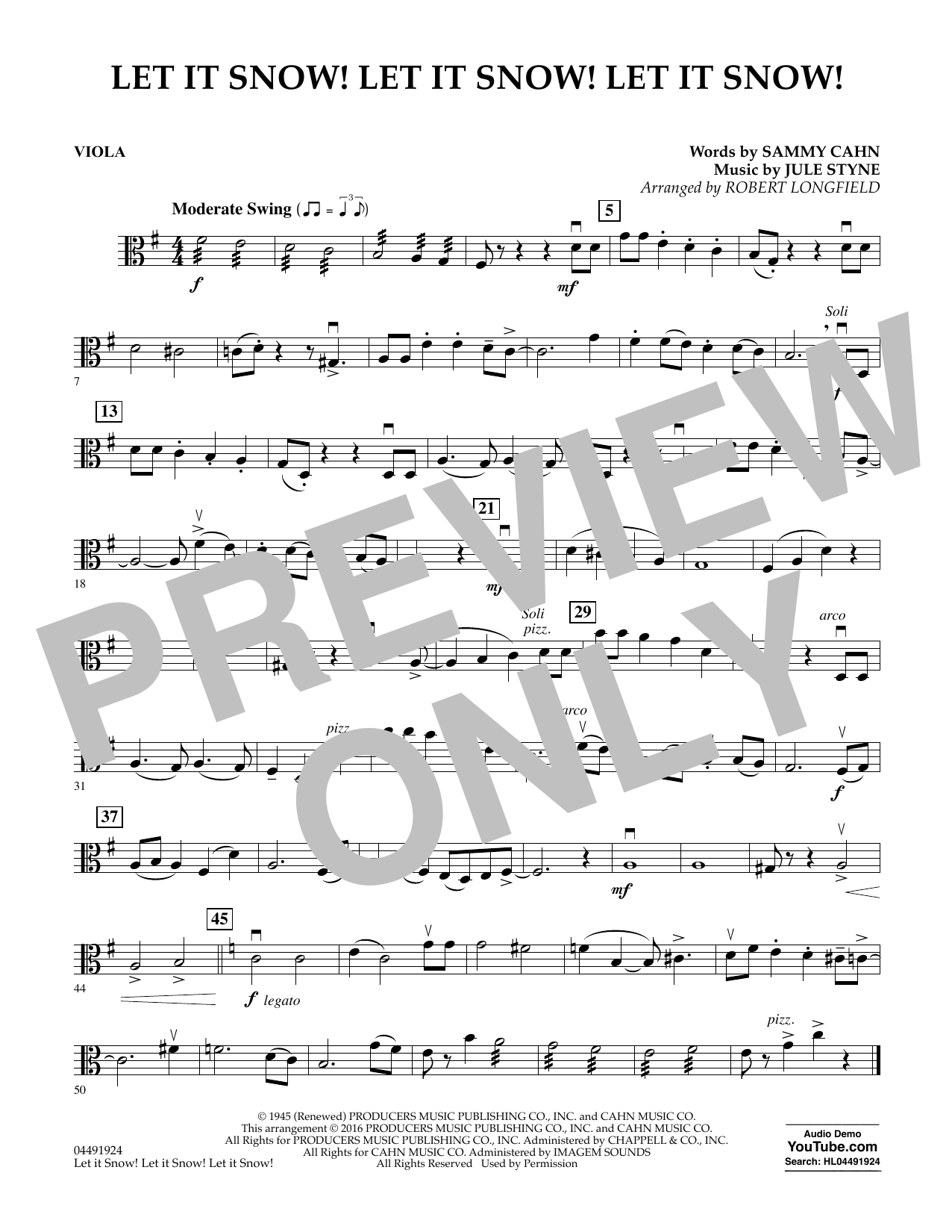 Let It Snow! Let It Snow! Let It Snow! - Viola Sheet Music