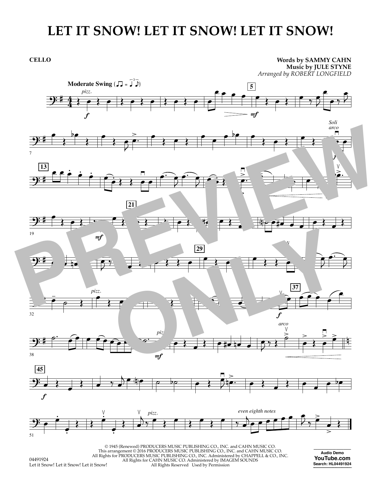 Let It Snow! Let It Snow! Let It Snow! - Cello Sheet Music
