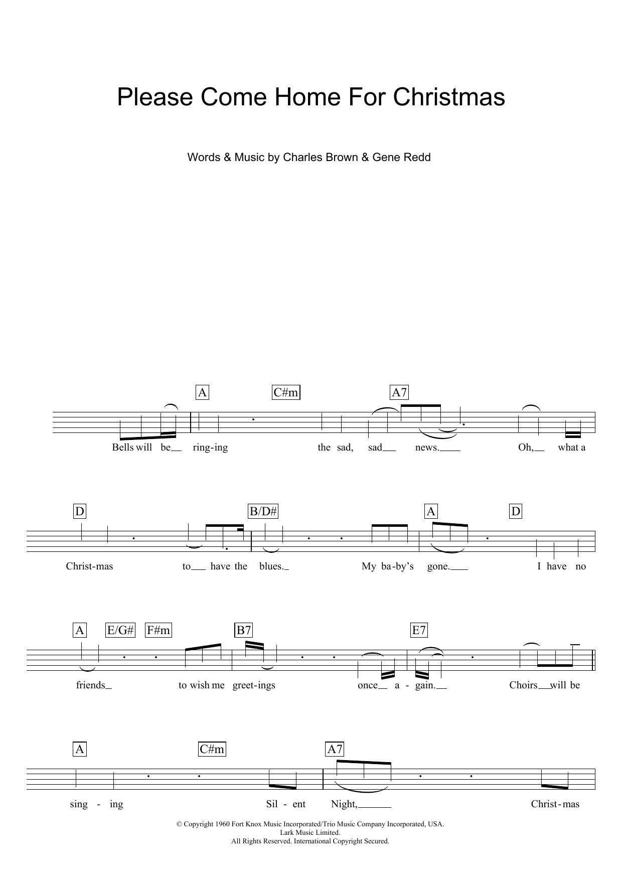Please Come Home For Christmas (Lead Sheet / Fake Book)