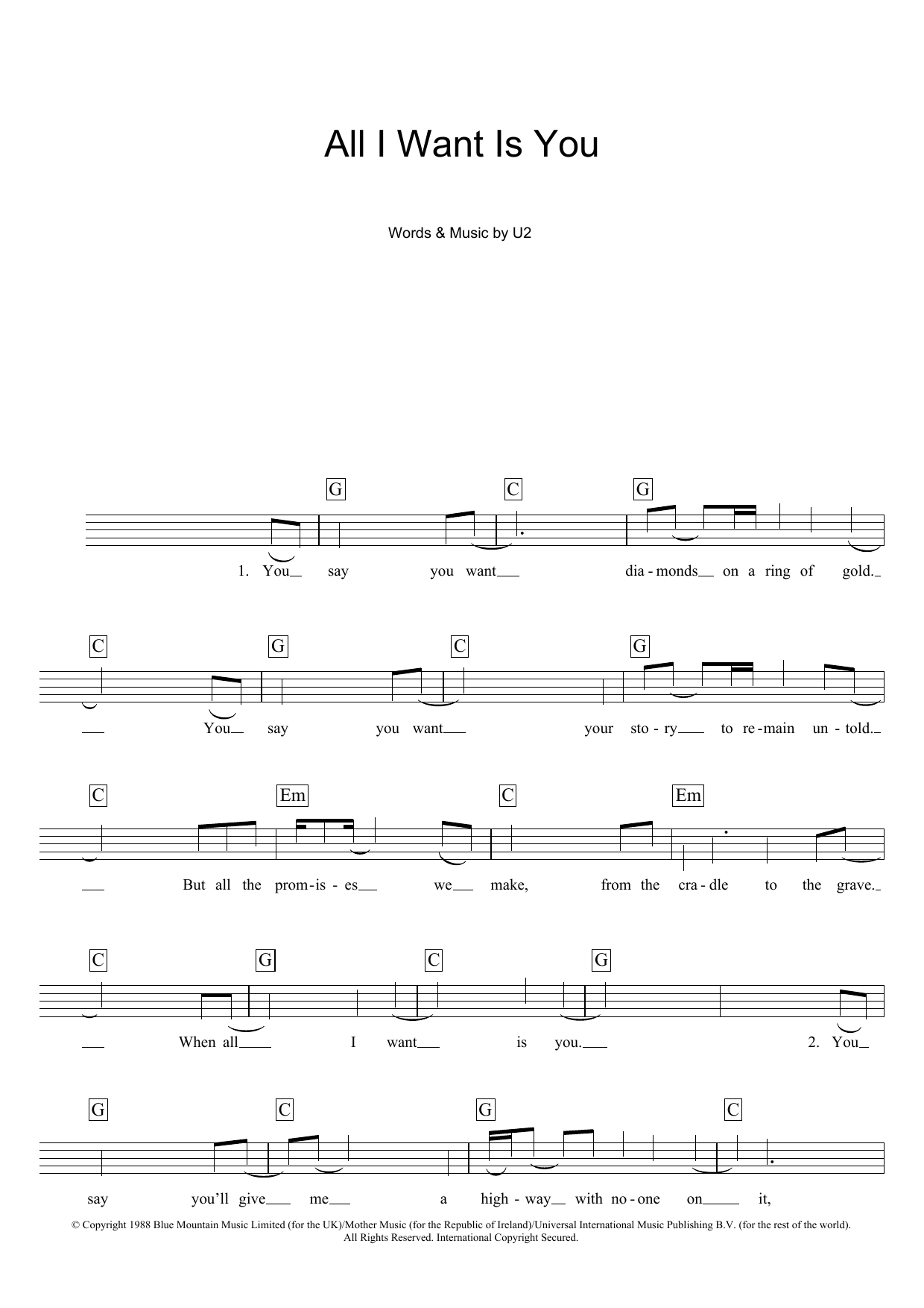 U2 - All I Want Is You at Stanton's Sheet Music