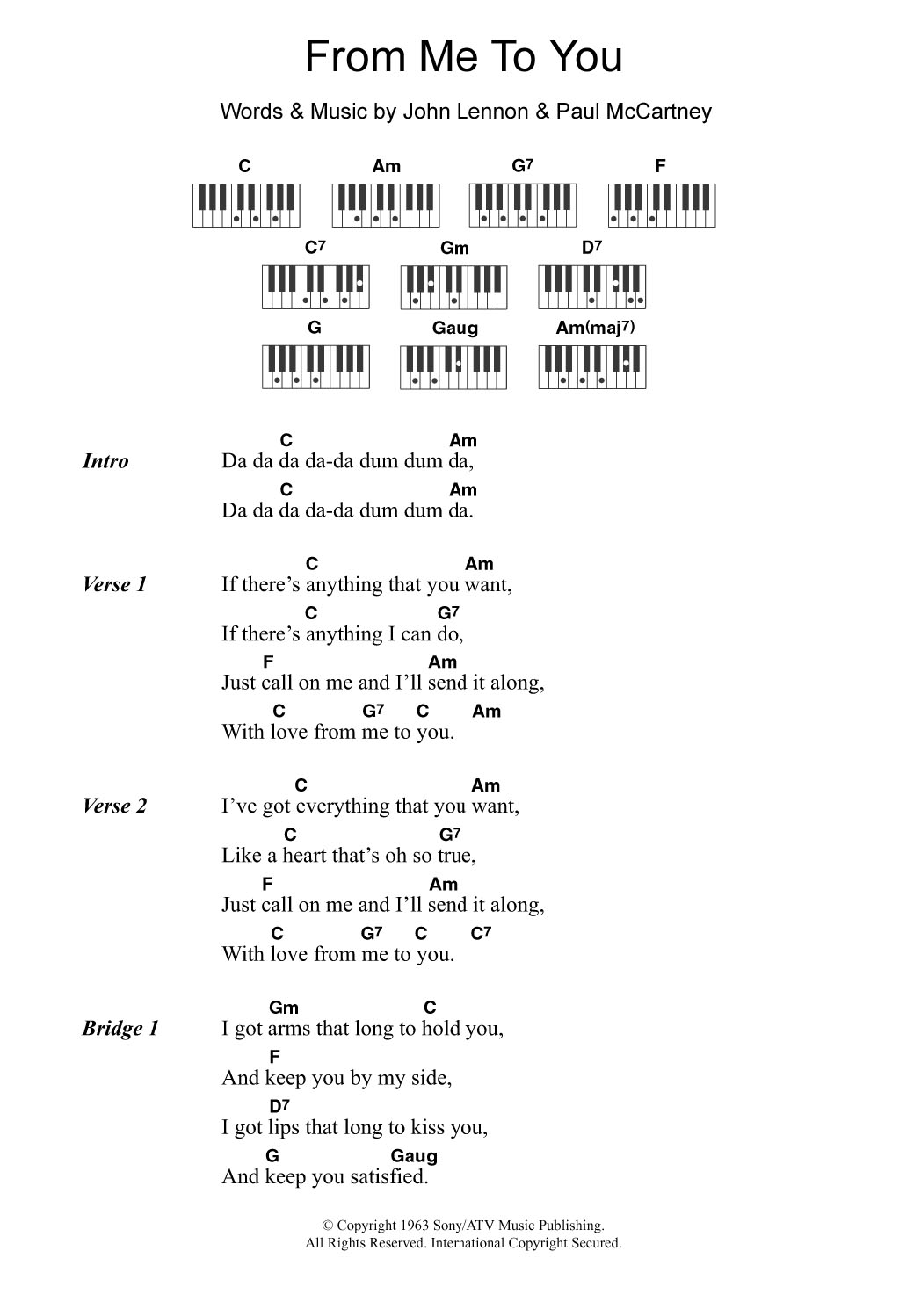 From Me To You (Piano Chords/Lyrics)