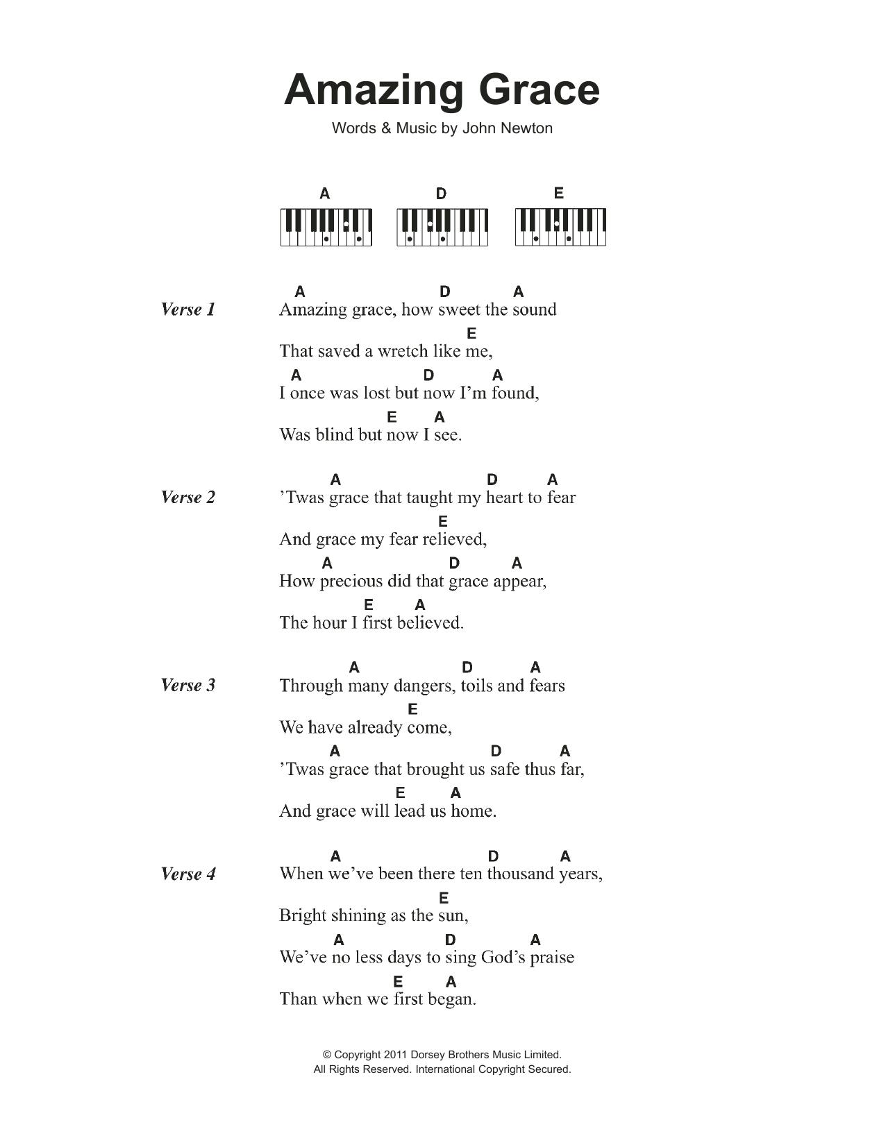 Amazing Grace Noten   Traditional   Klavier Akkorde/Texte