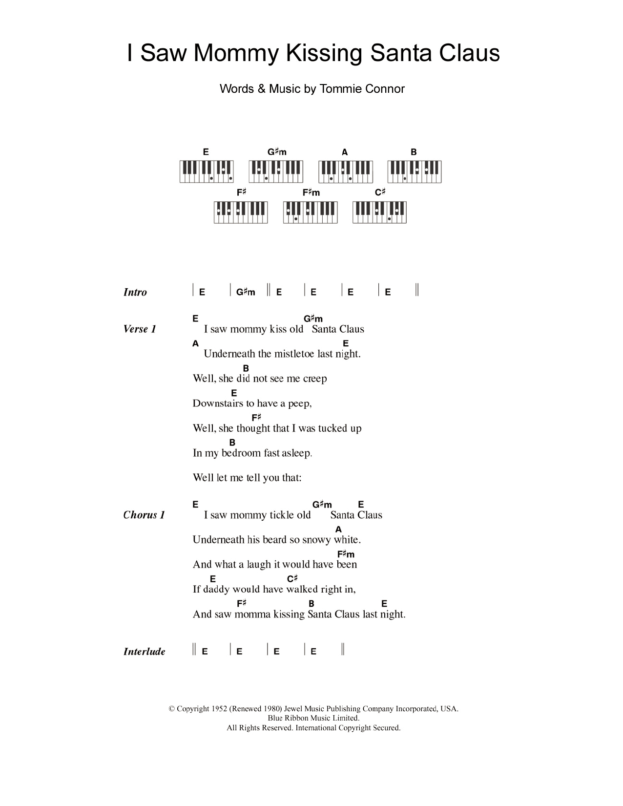 I Saw Mommy Kissing Santa Claus Sheet Music   Tommie Connor   Piano  Chords/Lyrics