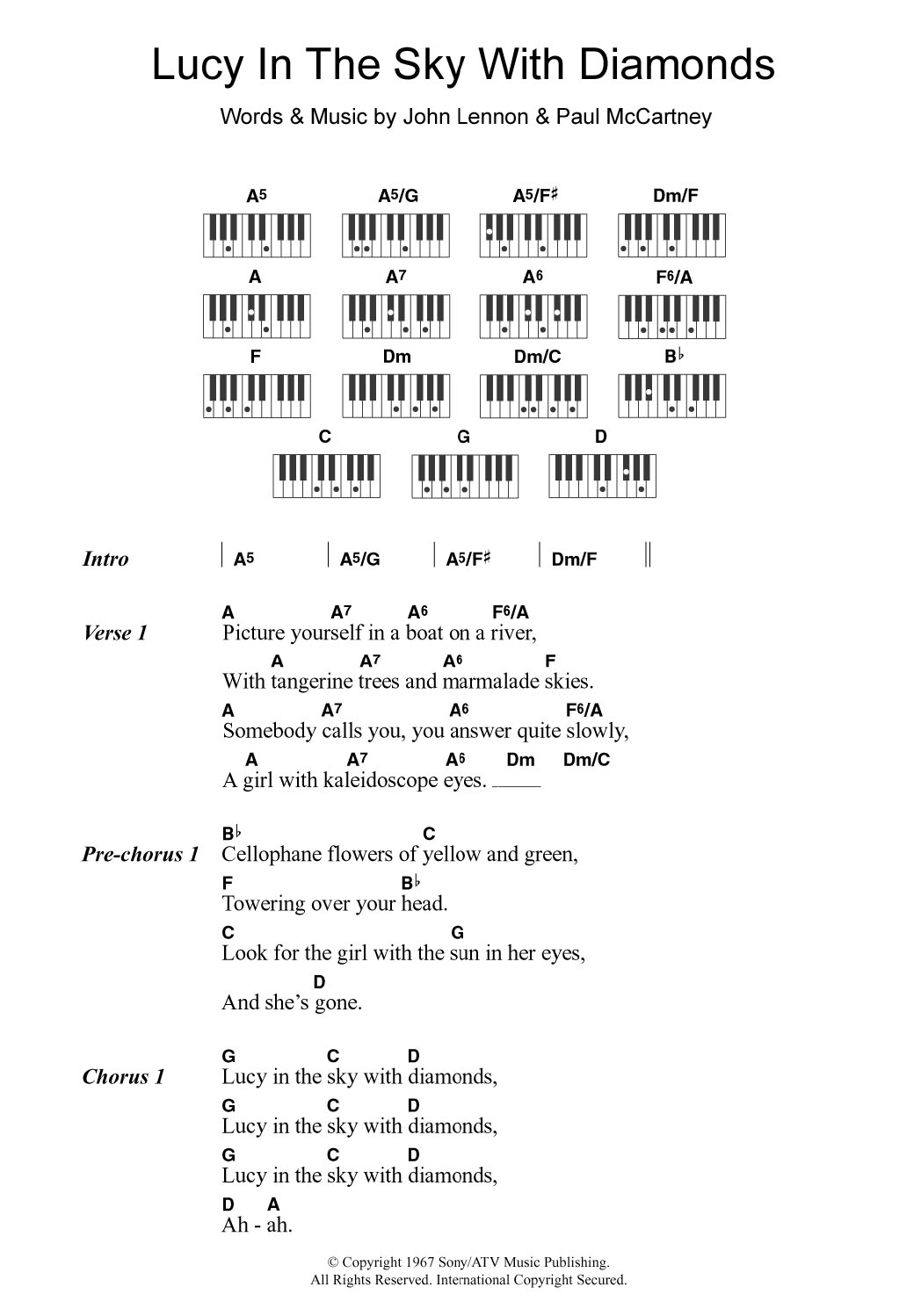 Lucy In The Sky With Diamonds Sheet Music   The Beatles   Piano  Chords/Lyrics