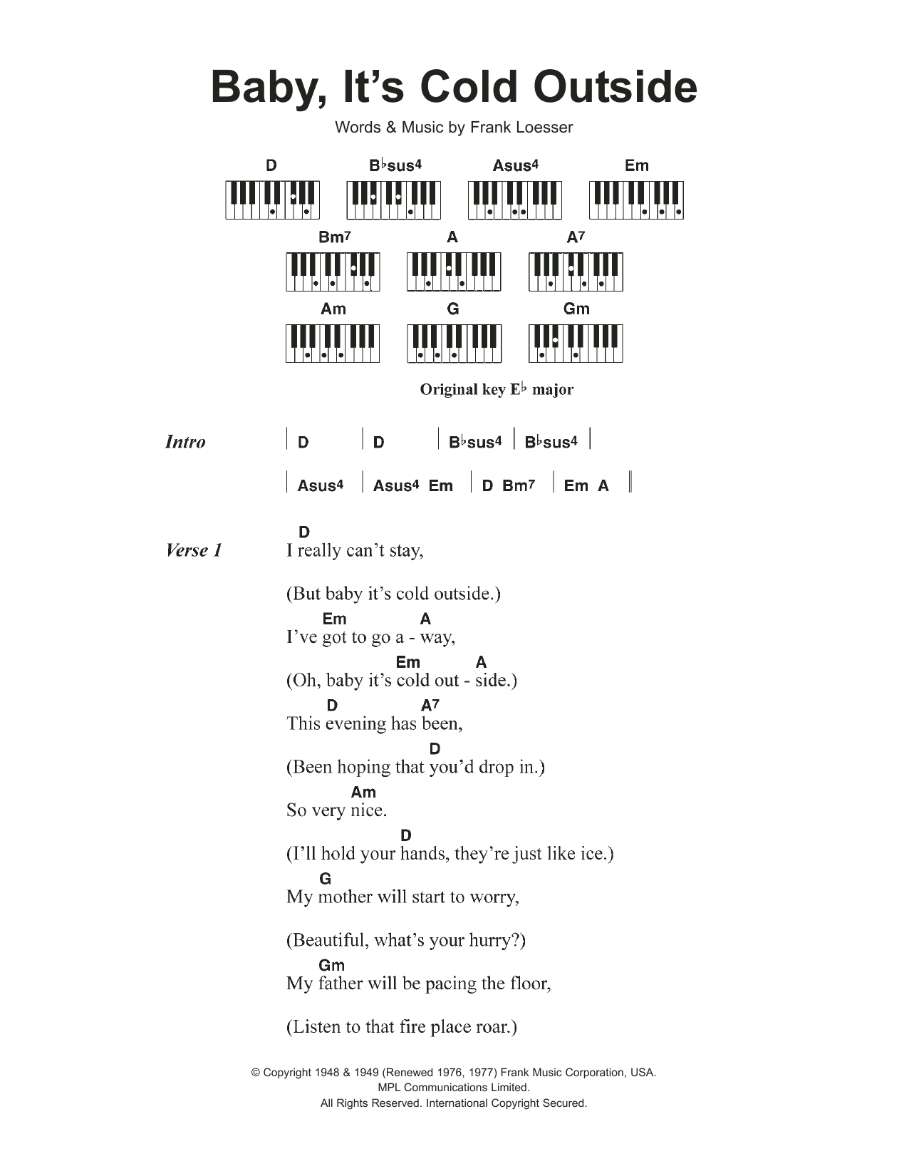 Baby, It's Cold Outside (Piano Chords/Lyrics)