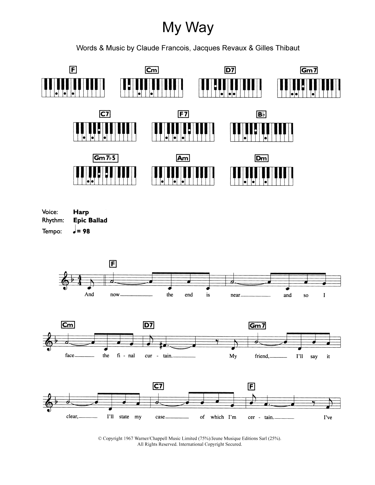 My Way Sheet Music