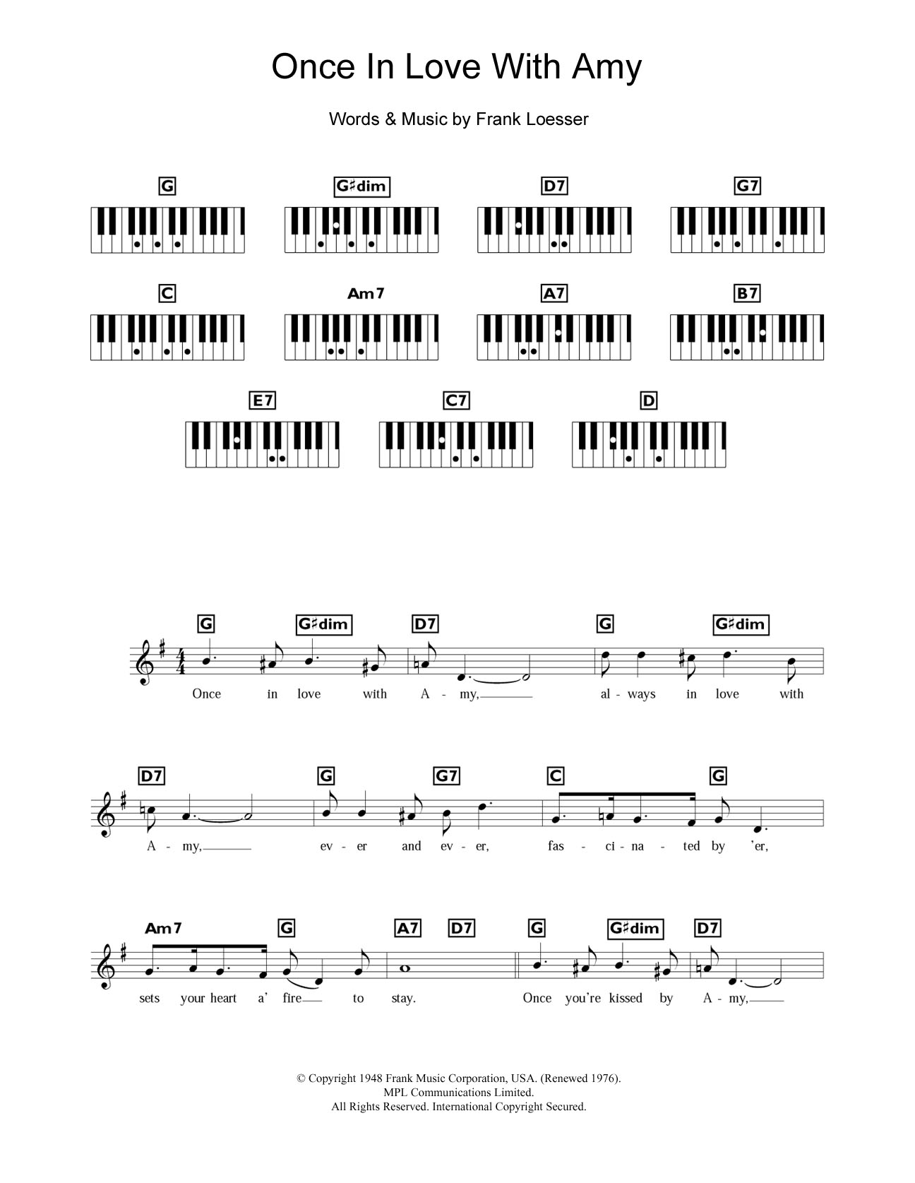 Once In Love With Amy (from Where's Charley?) Sheet Music