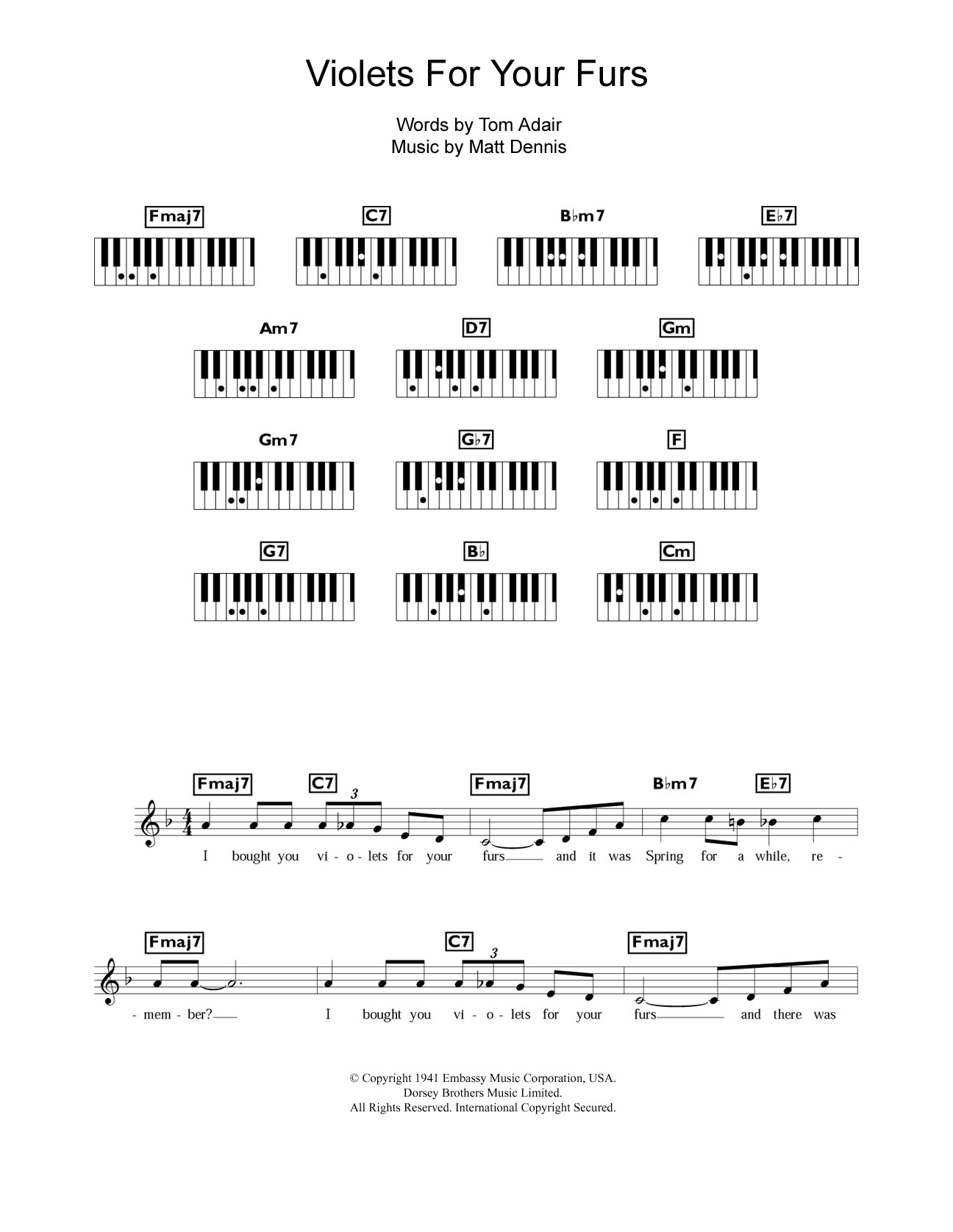Violets For Your Furs Sheet Music