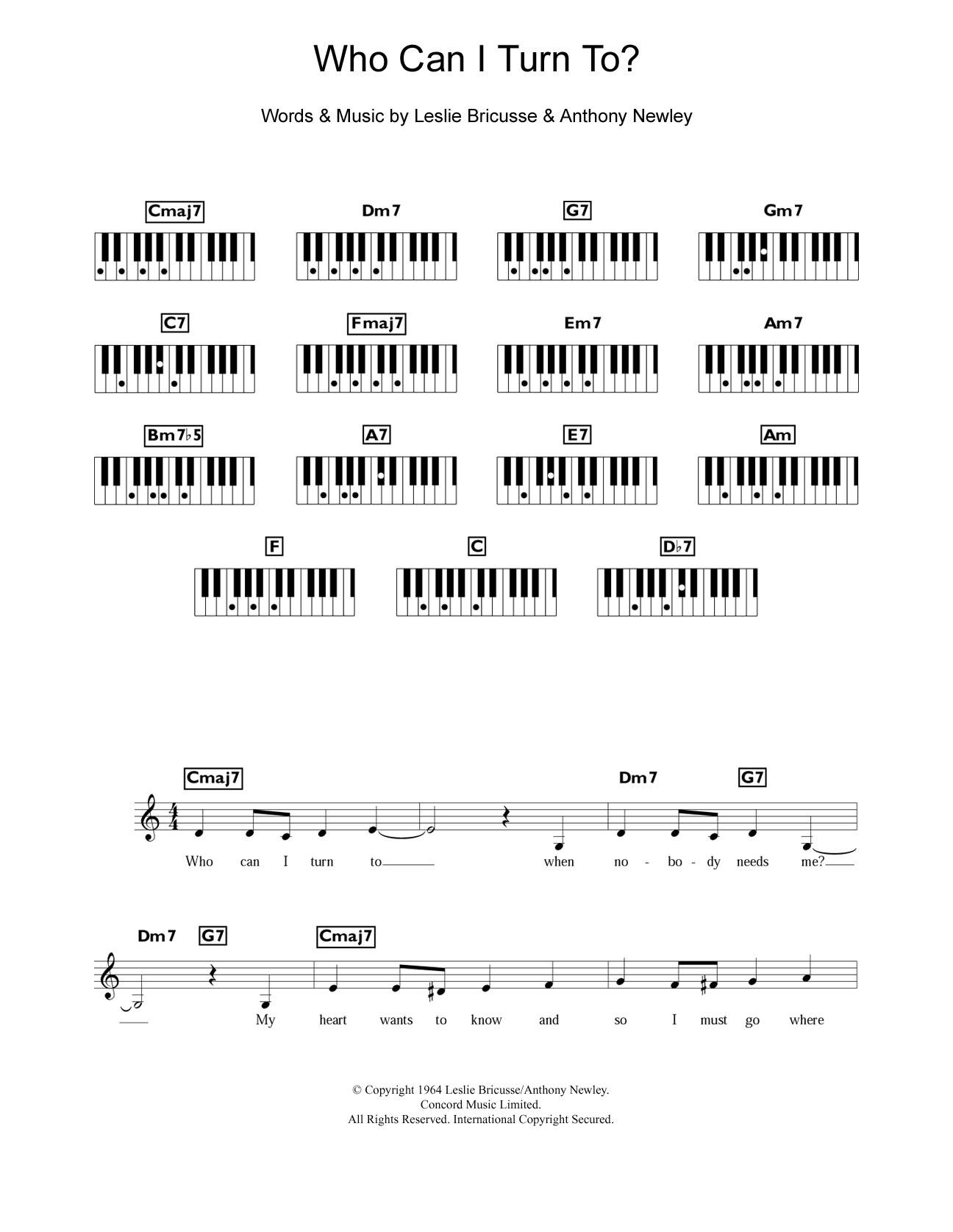 Who Can I Turn To? (Piano Chords/Lyrics)