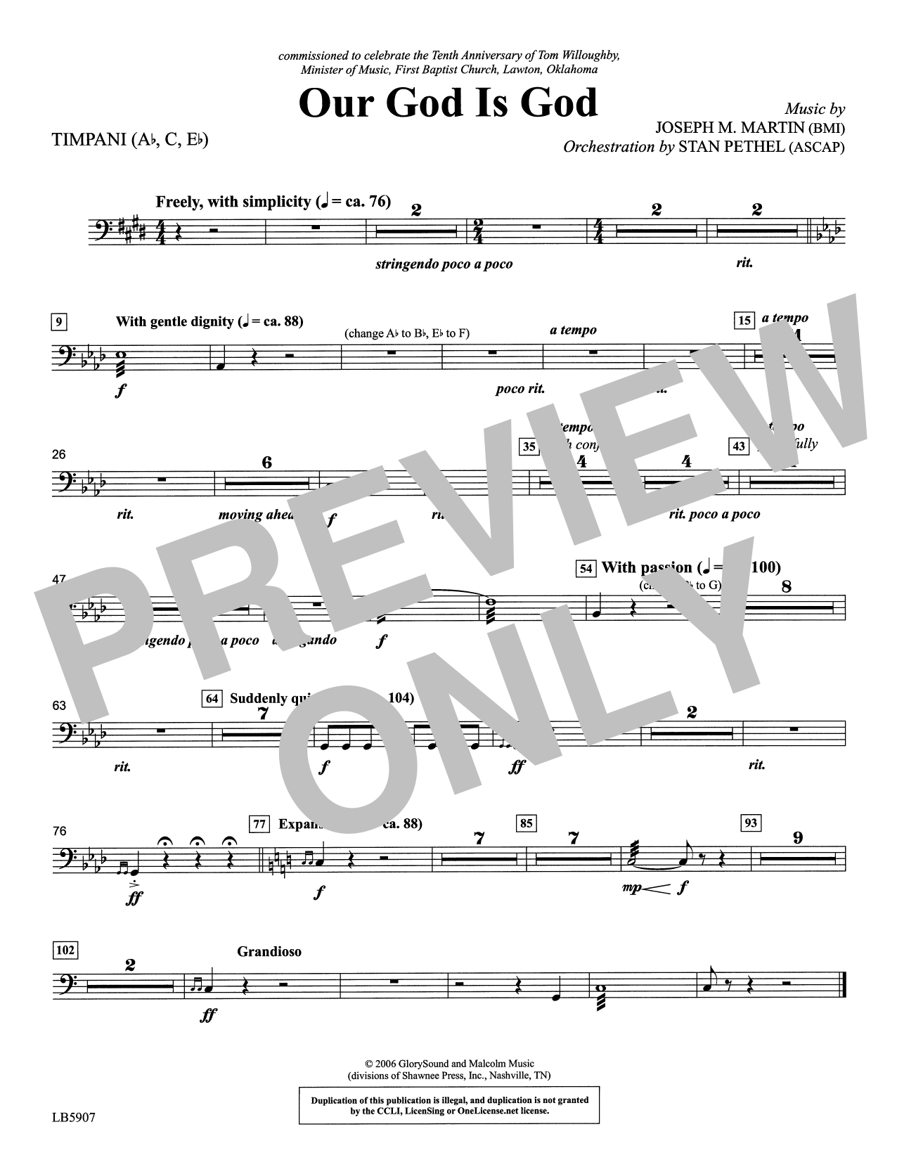 Our God Is God - Timpani Sheet Music