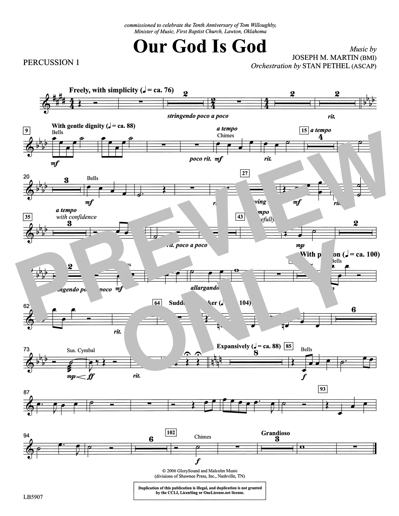 Our God Is God - Percussion 1 Sheet Music