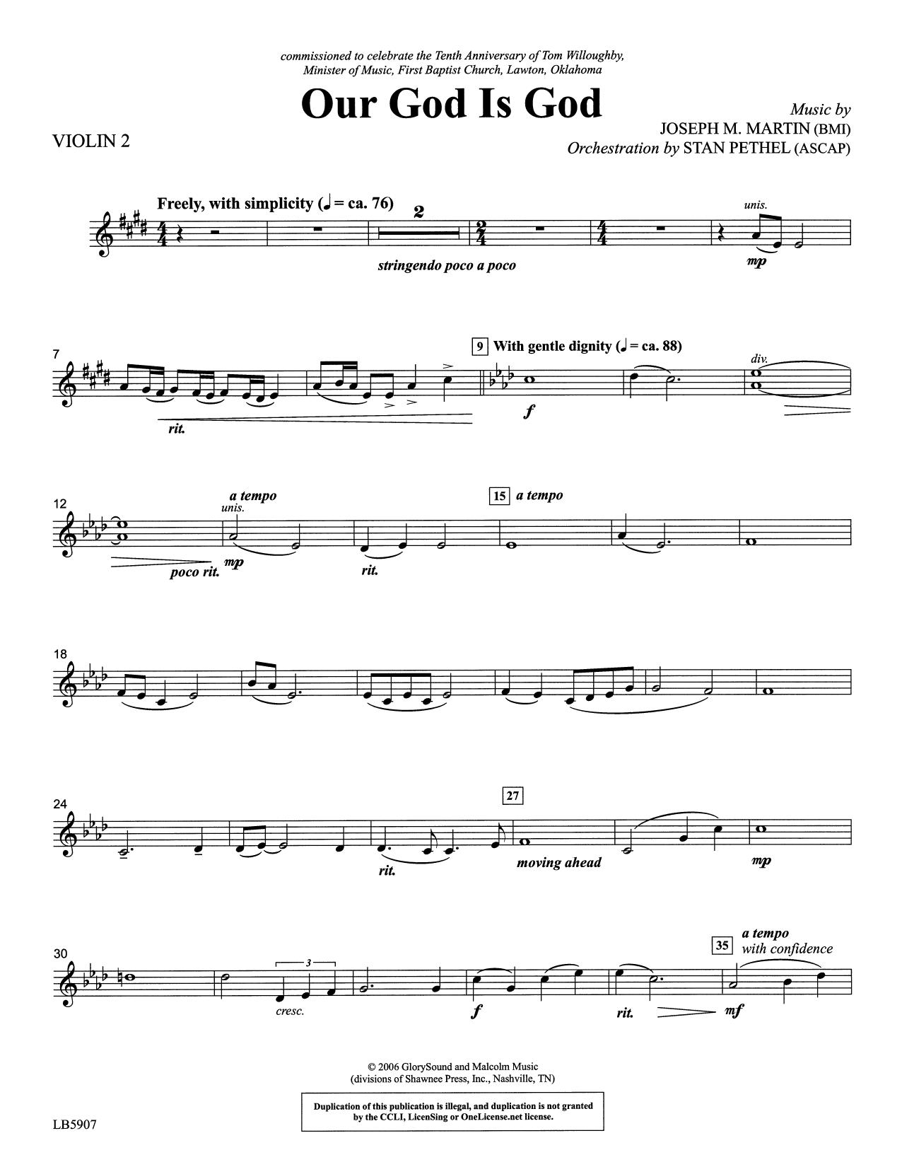 Our God Is God - Violin 2 Sheet Music