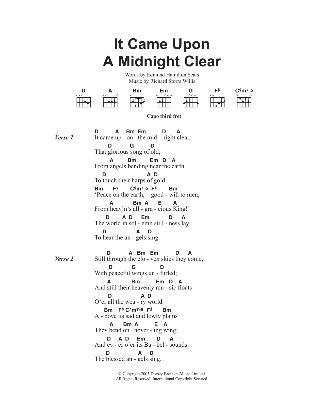 It Came Upon The Midnight Clear by Traditional Carol   Guitar ...