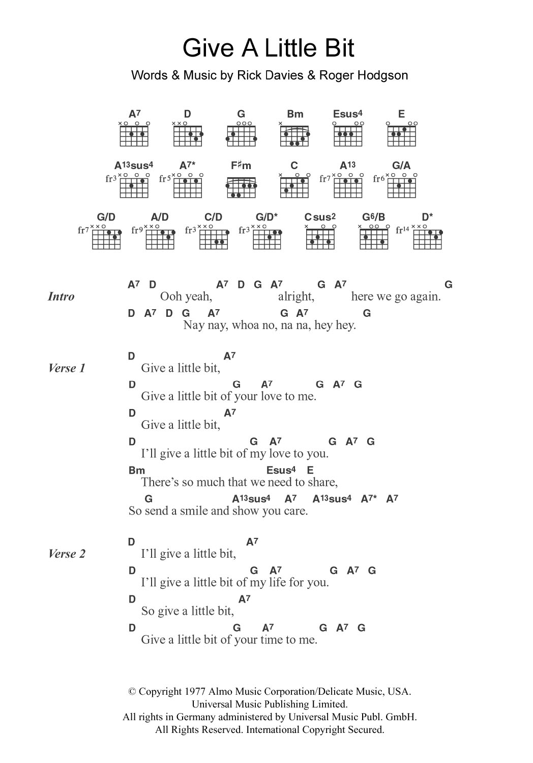 Give A Little Bit by Supertramp Piano, Vocal & Guitar Right Hand Melody  Digital Sheet Music